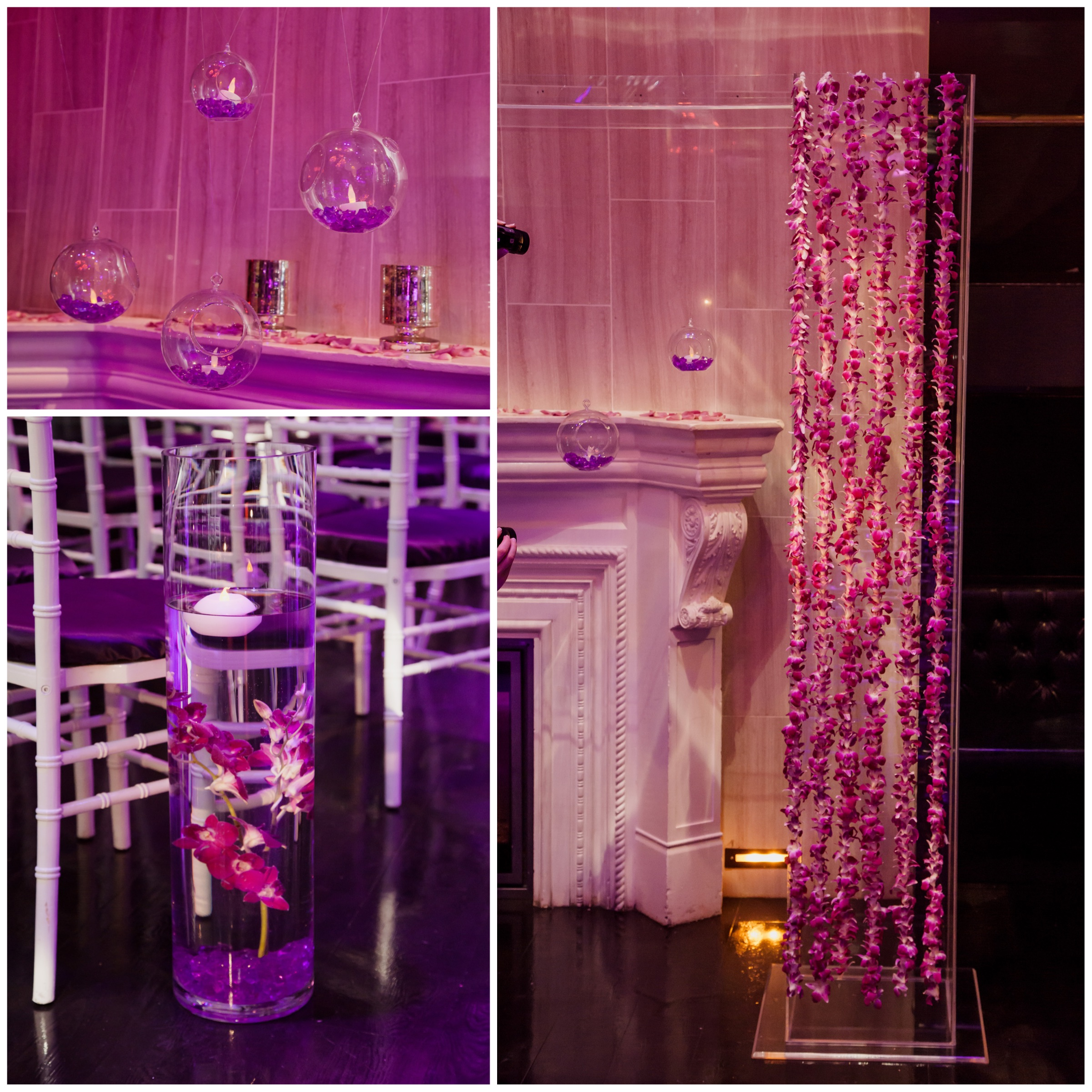Orchid garlands, handing lights, and floating candles gave the room a romantic feel.  Floral and Decor by Naakiti Floral.