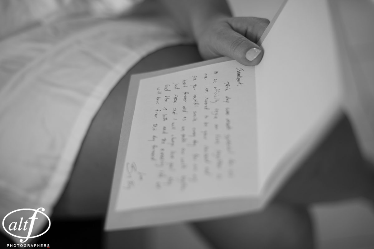 The groom sent the bride a love note and personal gift before their luxury Las Vegas wedding.