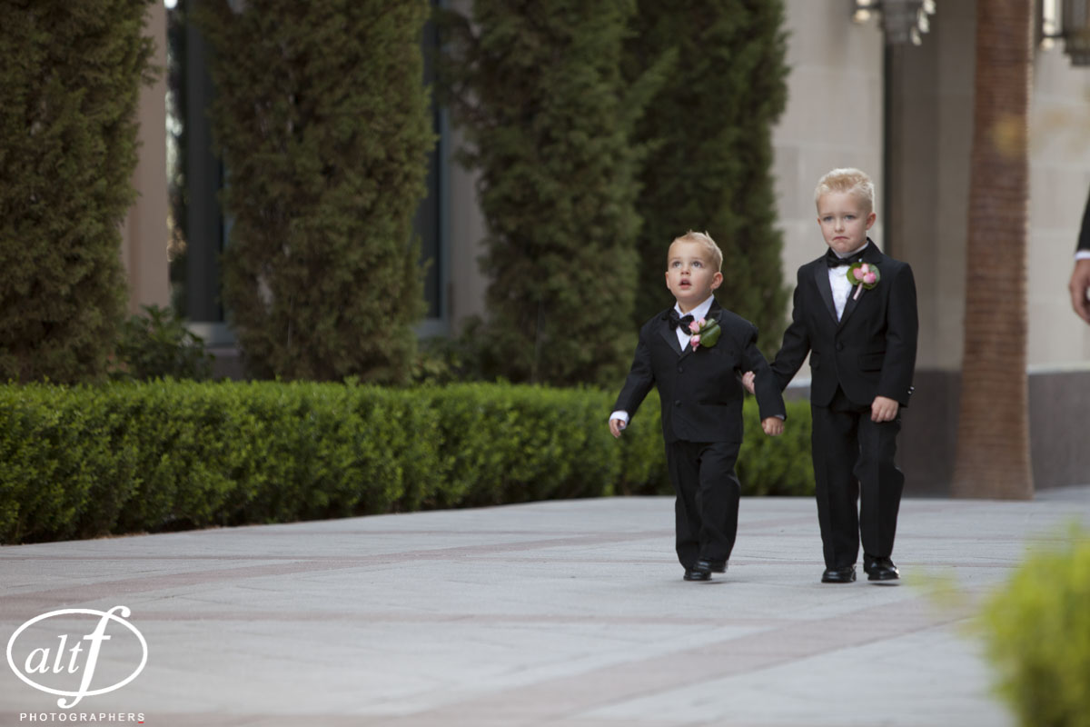 Two ring bearers in tuxes. I love kids at a wedding.