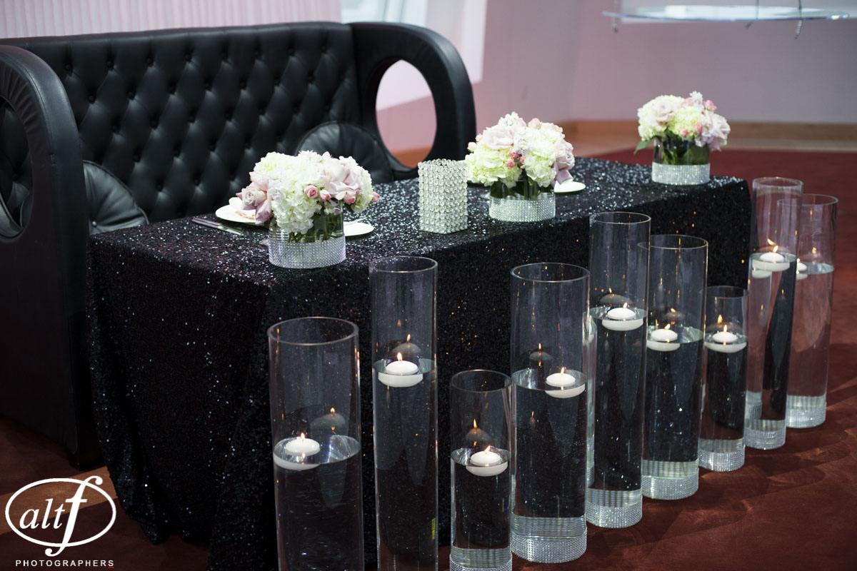 Black Couch and Black Sequence Table Cloth at Luxury Las Vegas Wedding at Keep Memory Alive Center.