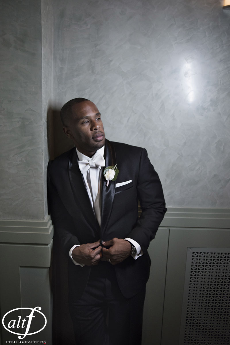 A classic black tux always gets me. I especially love the white tie. It's an elegant but unexpected look that never fails. Bryan Heard. June 2014.   Las Vegas Wedding Planner Andrea Eppolito    Photo by  www.alf.com