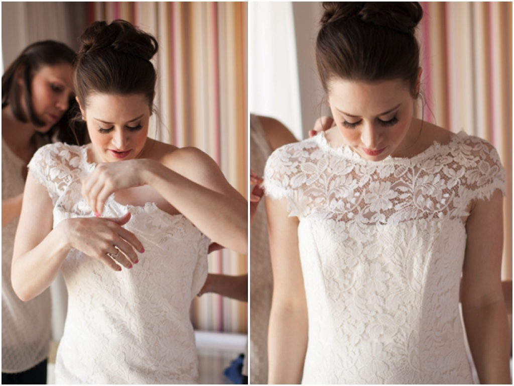 Cap sleeves and the illusion neckline are fashion forward statements for the bride who works in PR and marketing. After the wedding, the dress was sent back to Europe, where it is being hand dyed a deep shade of black, allowing the bride to wear the dress again and again.  Lindsey Green. March 2014. Photo by  Corry Arnold  .