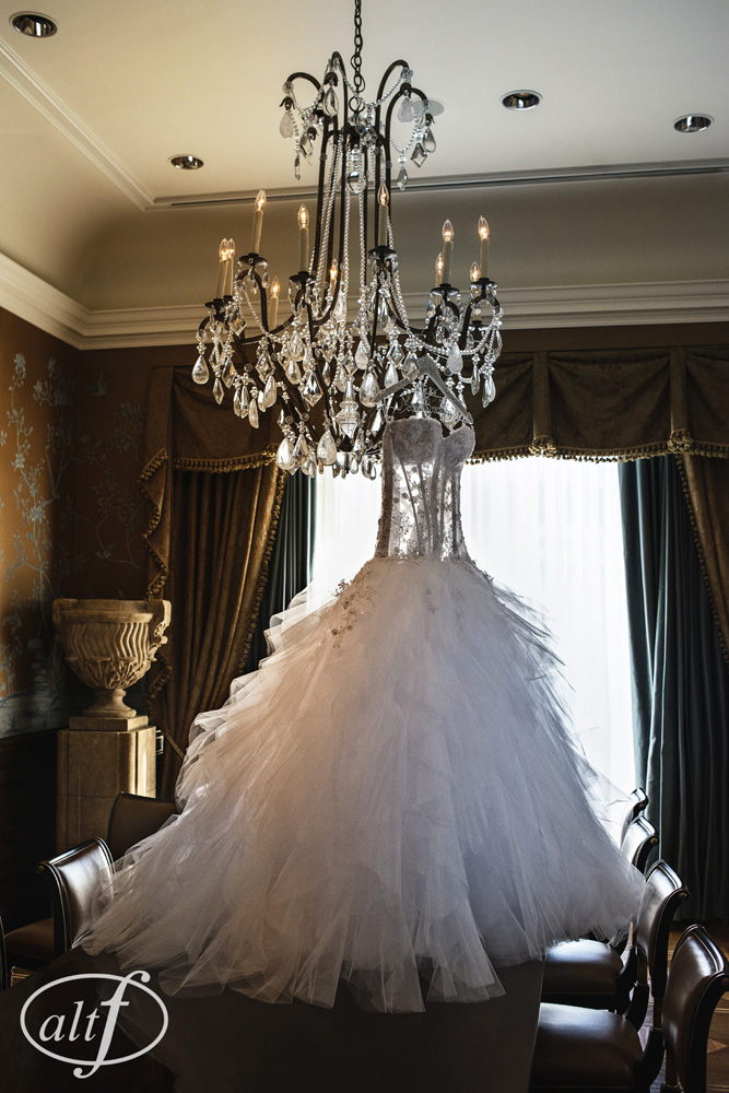 This P'Nina Tornai gown was the showpiece of the wedding. Megan Bridges. September 2014.  Photo by  Alt F Photography  .
