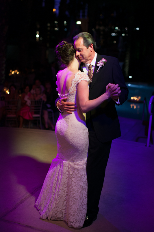 Father Daughter Dance.   Las Vegas Wedding Planner Andrea Eppolito Events  |  Photo by Corry Arnold  |  Vintage Poolside Wedding at The Flamingo