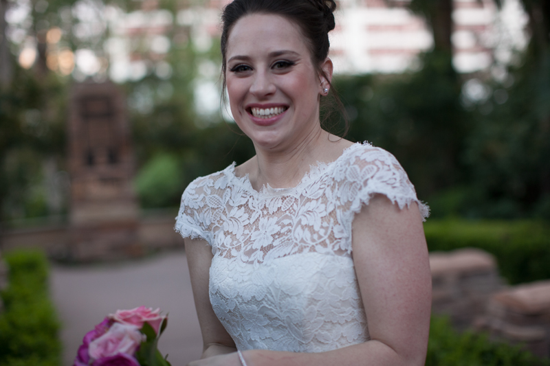 The beaming bride.   Las Vegas Wedding Planner Andrea Eppolito Events  |  Photo by Corry Arnold  |  Vintage Poolside Wedding at The Flamingo