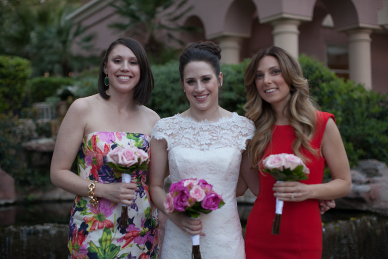 Mix matched Bridesmaids.   Las Vegas Wedding Planner Andrea Eppolito Events  |  Photo by Corry Arnold  |  Vintage Poolside Wedding at The Flamingo