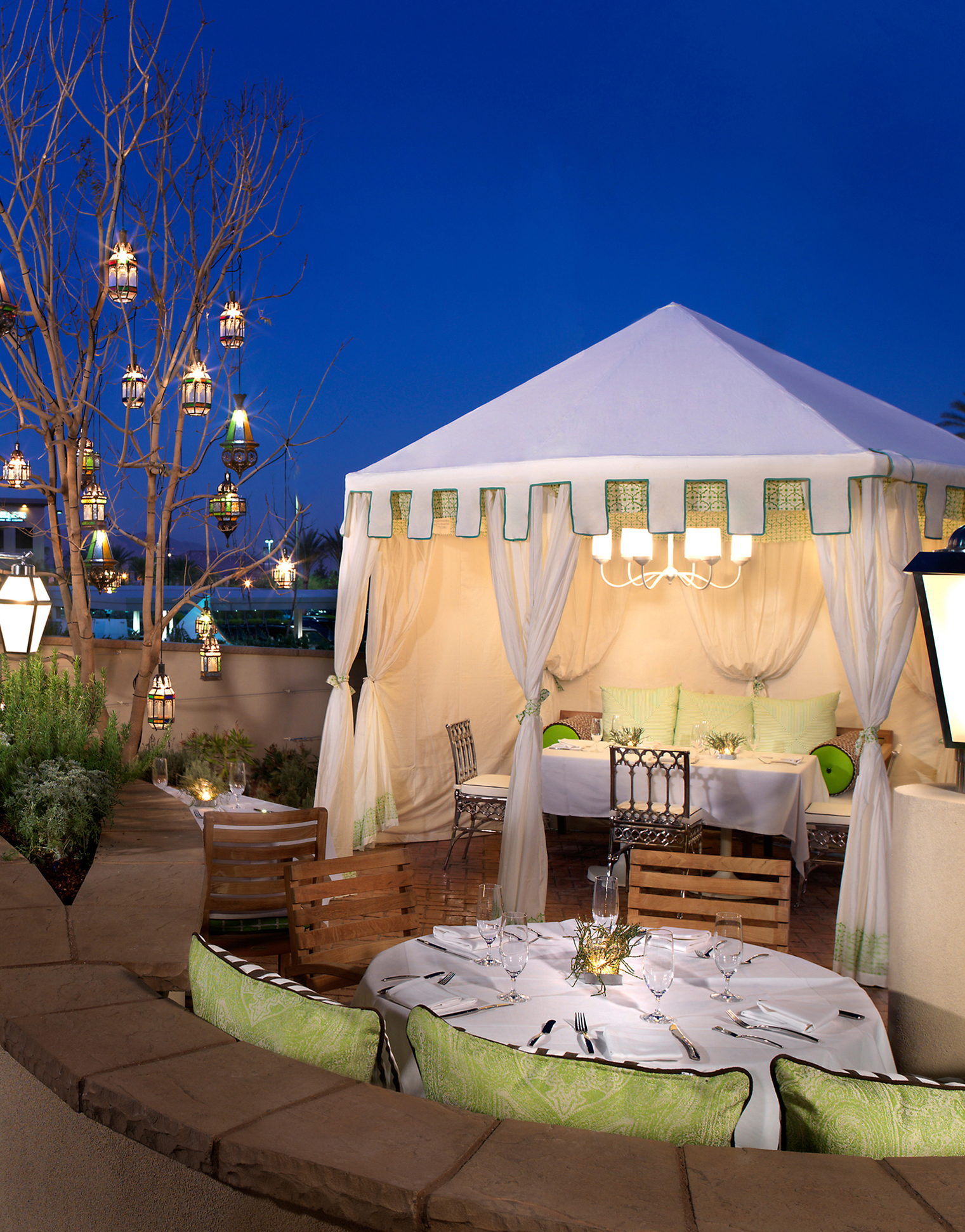Vintner Grill in Summerlin offers both indoor and outdoor seating, with semi-private cabanas ideal for small weddings and personal proposals.