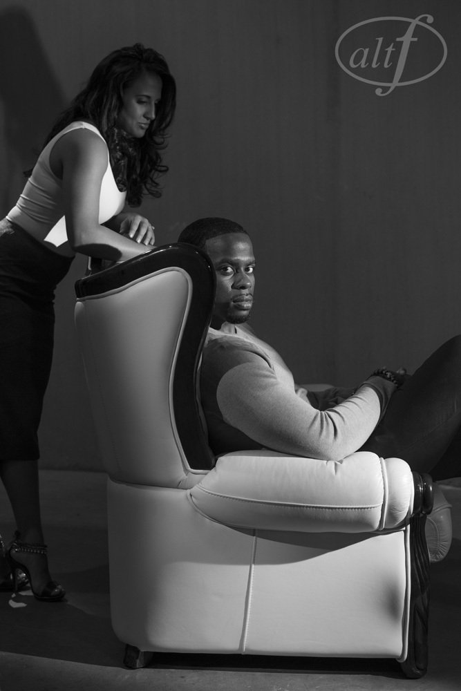 Black & White In Studio Engagement Photo by Altf Photography.