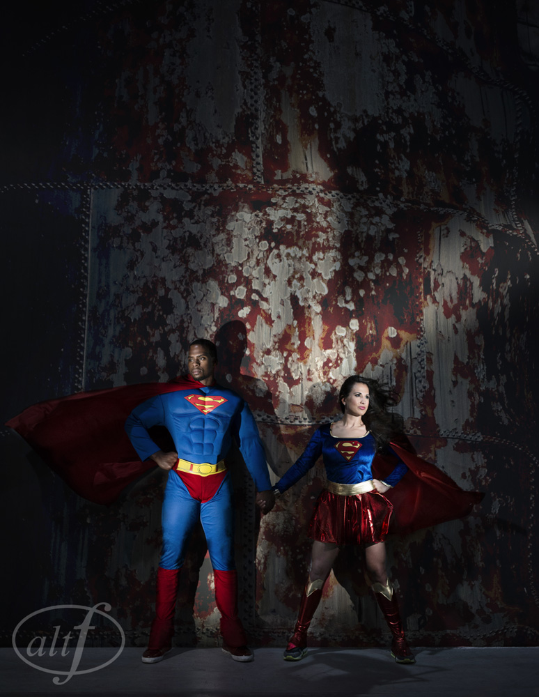 Super Hero Themed Engagement Photos | In Studio Engagement Photo by Altf Photography.