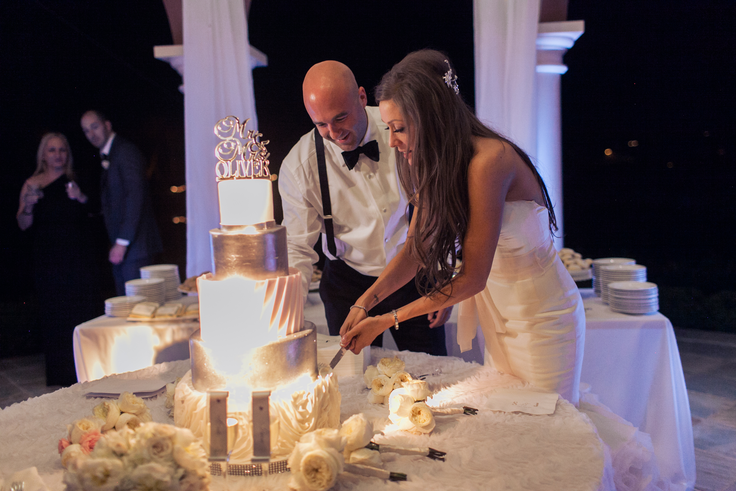 The cake cutting.  Stephanie Di Lallo married  Justin Oliver at a water front  wedding at The Westin Lake Las Vegas.     Las Vegas Wedding Planner Andrea Eppolito   Wedding at Lake Las Vegas   White and Blu  sh and Grey Wedding   Luxury Wedding Las Vegas