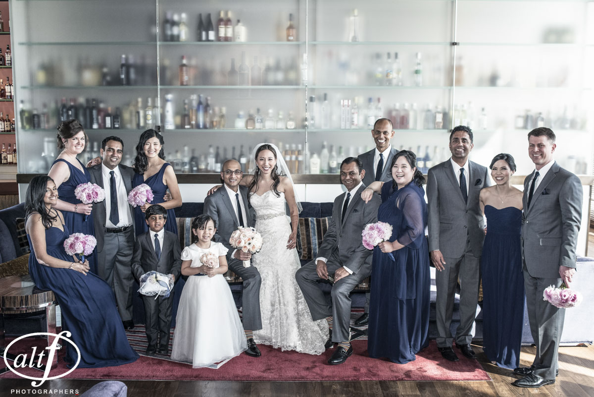 Large bridal party for a multicultural Western and Indian Wedding.  Indian Wedding at the Mandarin Oriental. Las Vegas Wedding Planner Andrea Eppolito. Photo by Altf.