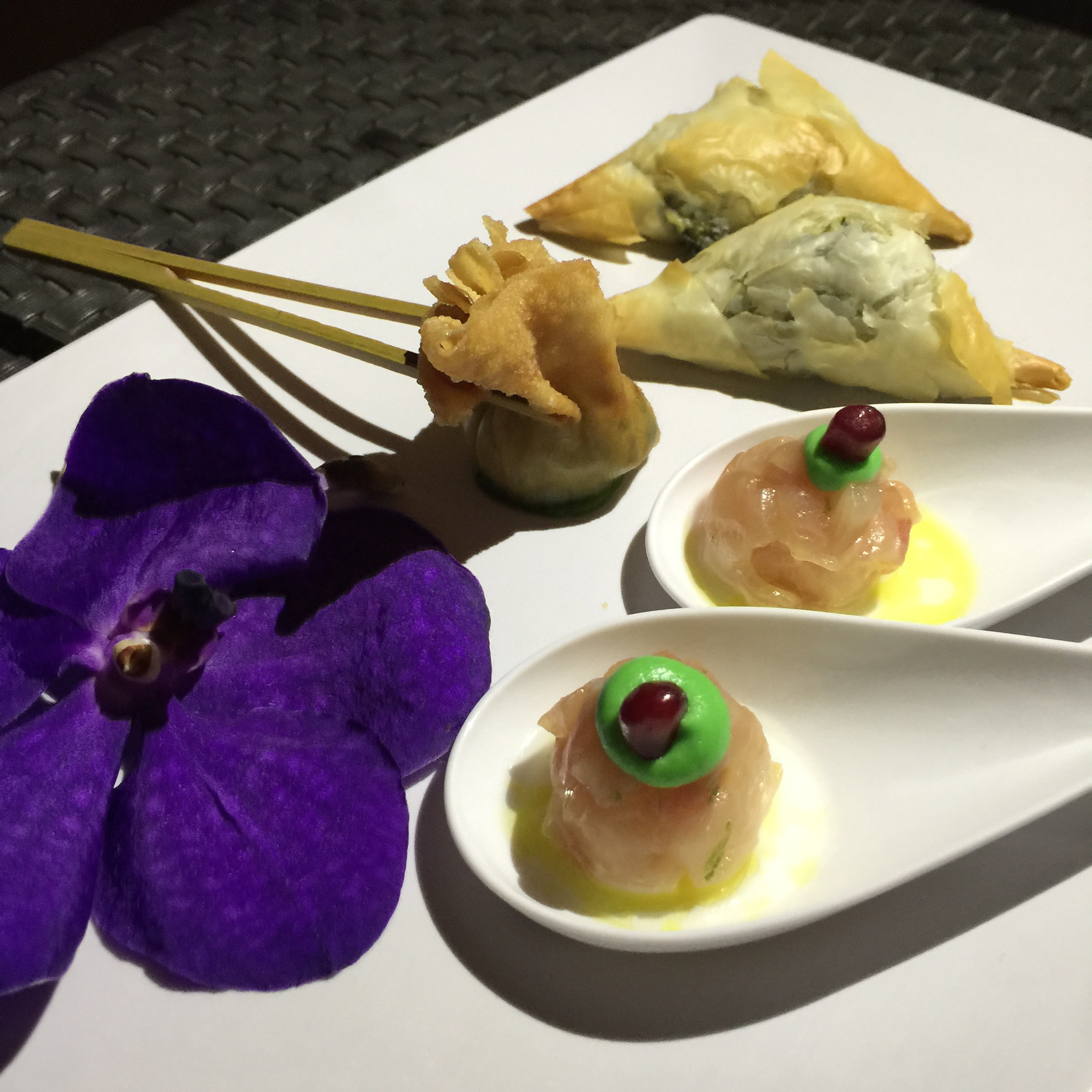 A small sampling hors d'oeuvres from the Mandarin Oriental.Photo by Las Vegas Wedding Planner Andrea Eppolito.