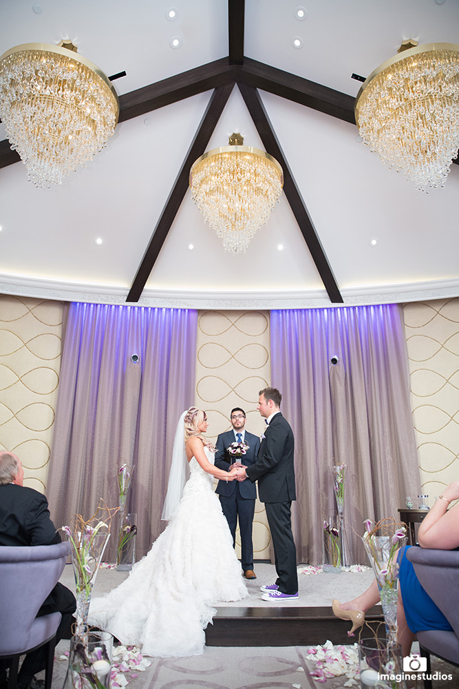 Ivory and Purple Wedding Chapel Las Vegas.  The Wedding Chapel at ARIA Las Vegas is endorsed by Luxury Las Vegas Wedding Planner Andrea Eppolito.