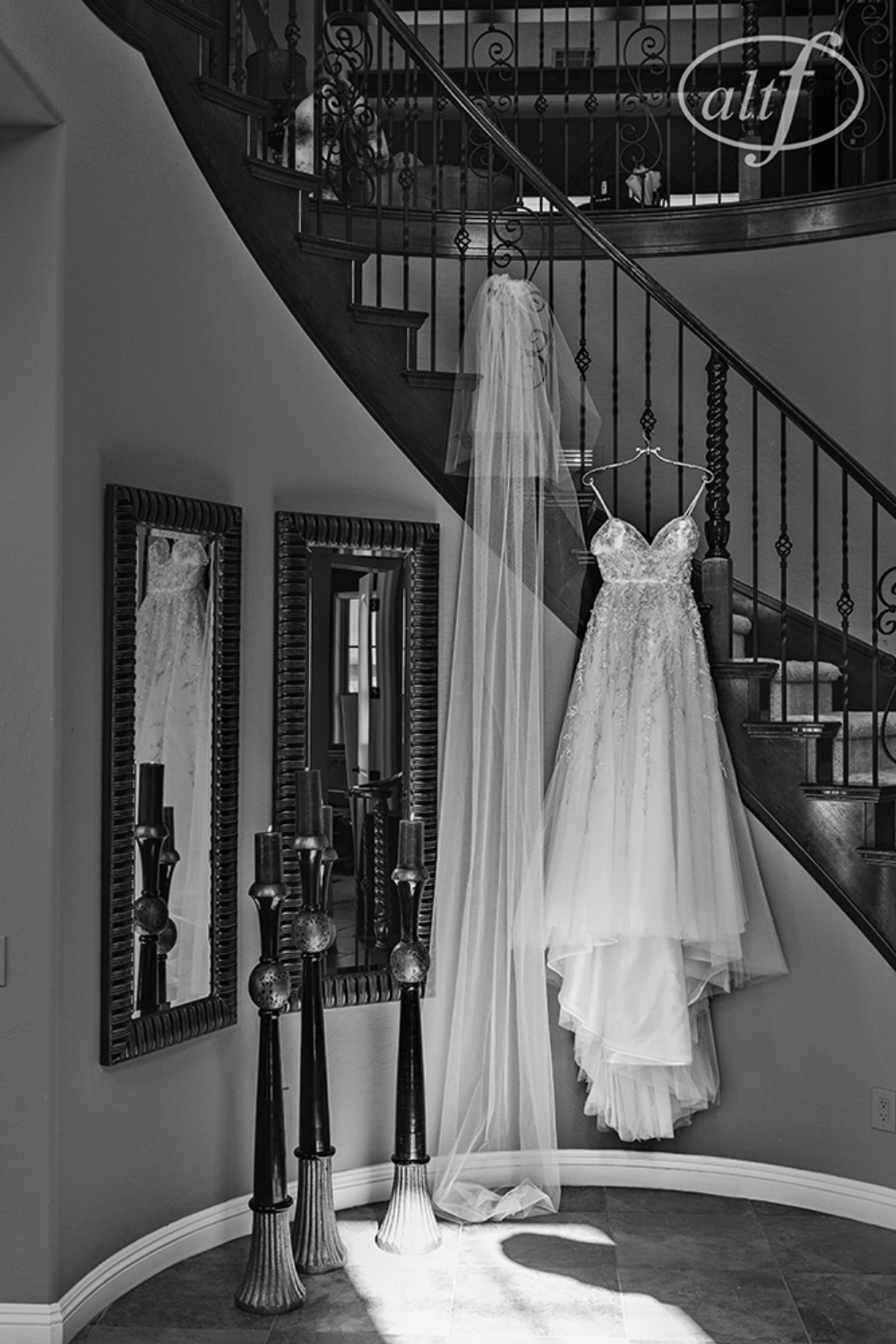 Embroidered Wedding Gown by Lazaro. Veil and Salon services from Couture Bride.  Las Vegas Wedding Planner Andrea Eppolito. Image by Altf.com.