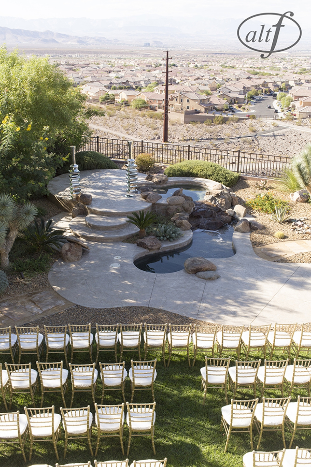 Set up in progress by Naakiti Floral. Las Vegas Wedding Planner Andrea Eppolito. Image by Altf.com.