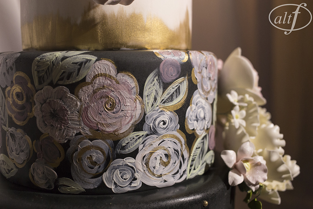 Hand painted wedding cake by Peridot Sweets.   Las Vegas Wedding Planner Andrea Eppolito. Image by Altf.com.