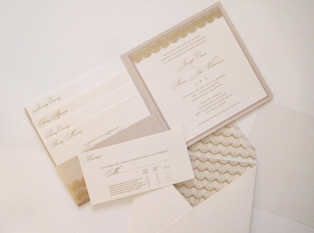 P'Nina Tornai Lace Inspired Wedding Invitations with Envelope Liner