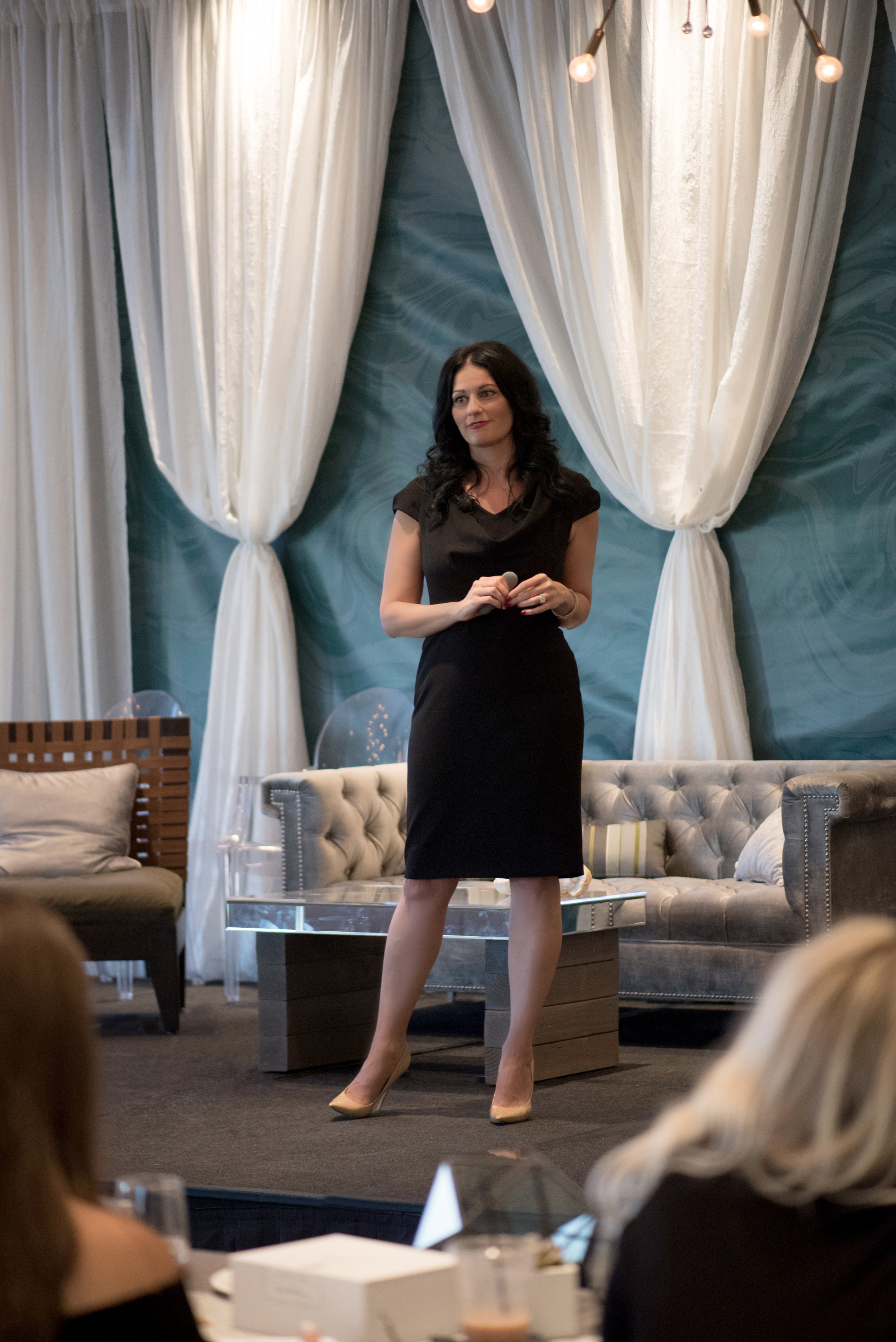 Luxury Wedding Planner Andrea Eppolito speaking at The Balance Reverie Retreat. Photo by Cameron Kelly Studio.