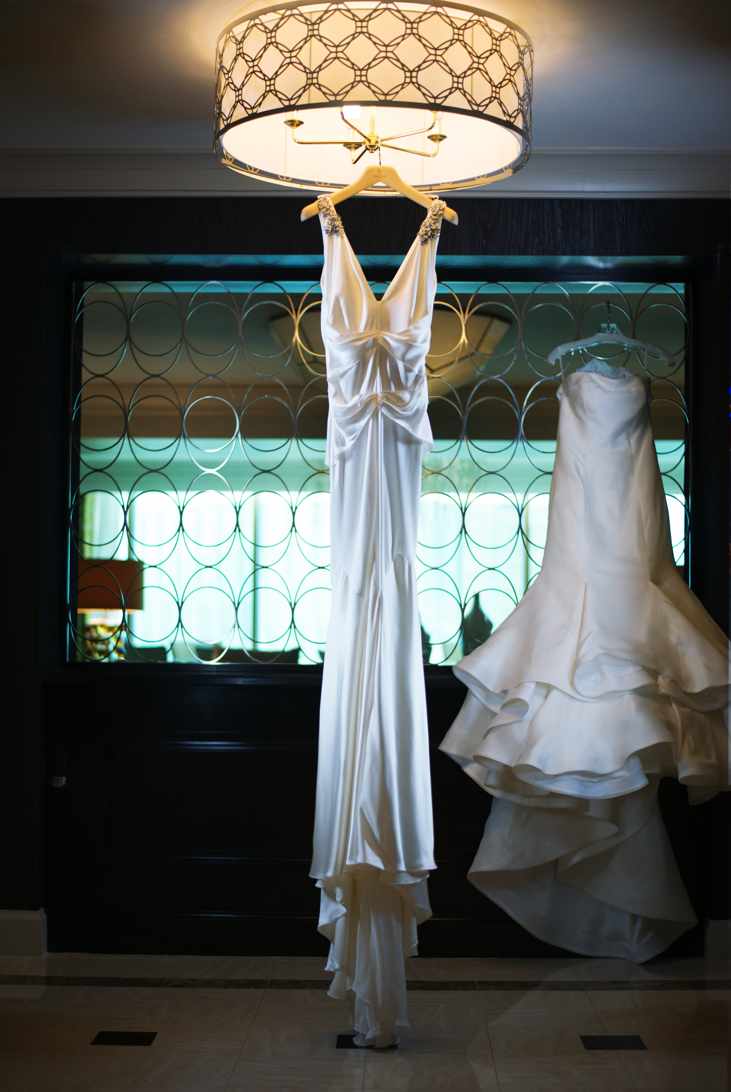 Reception wedding dress by Vera Wang at the Couture Bride Salon. Luxury Las Vegas Wedding Planner Andrea Eppolito. Wedding at Four Seasons Las Vegas. Image by AltF Photo.