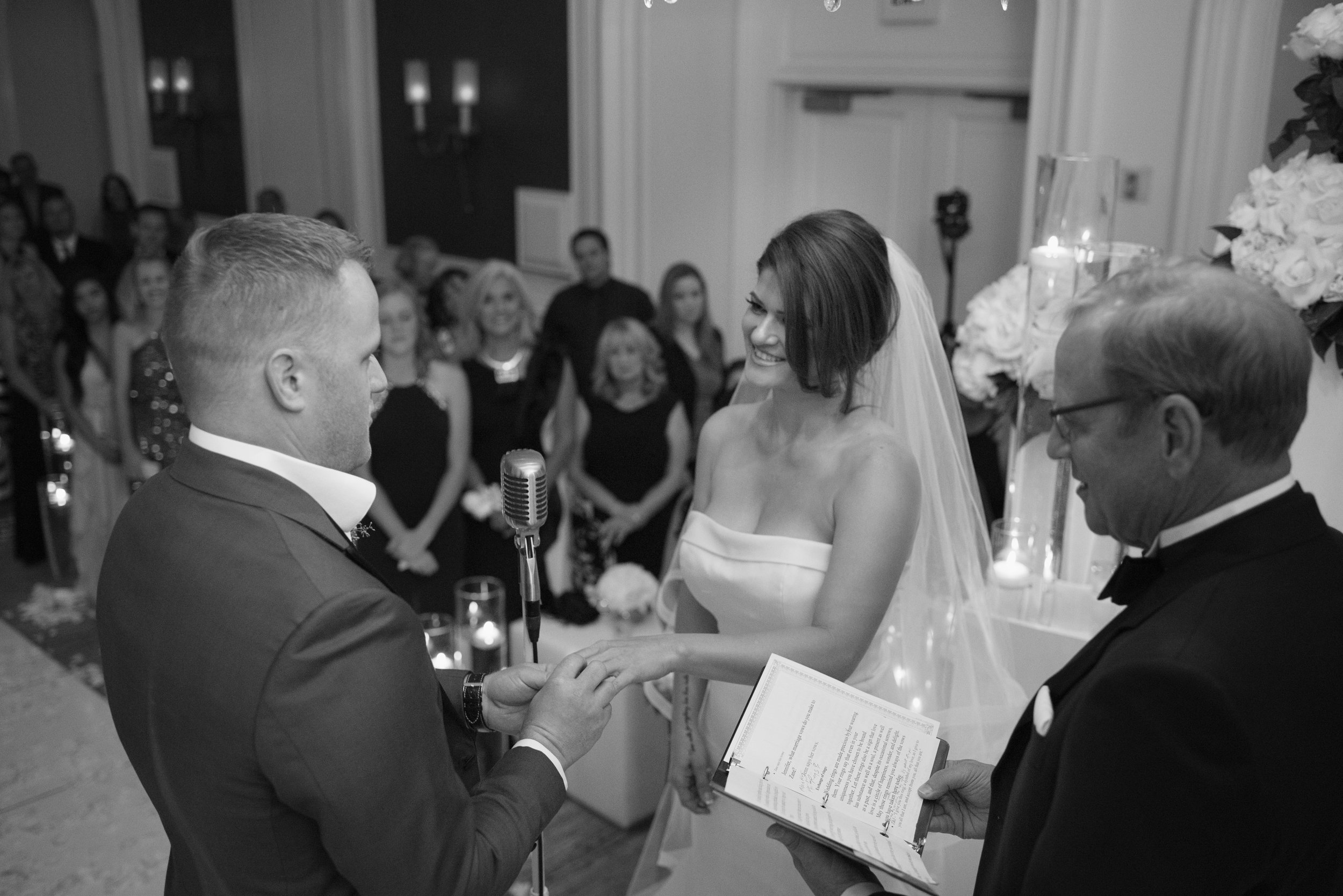 Vow and ring exchange.  Four Seasons Wedding by Las Vegas Wedding Planner Andrea Eppolito. Image by AltF Photography. Decor by DBD Vegas.