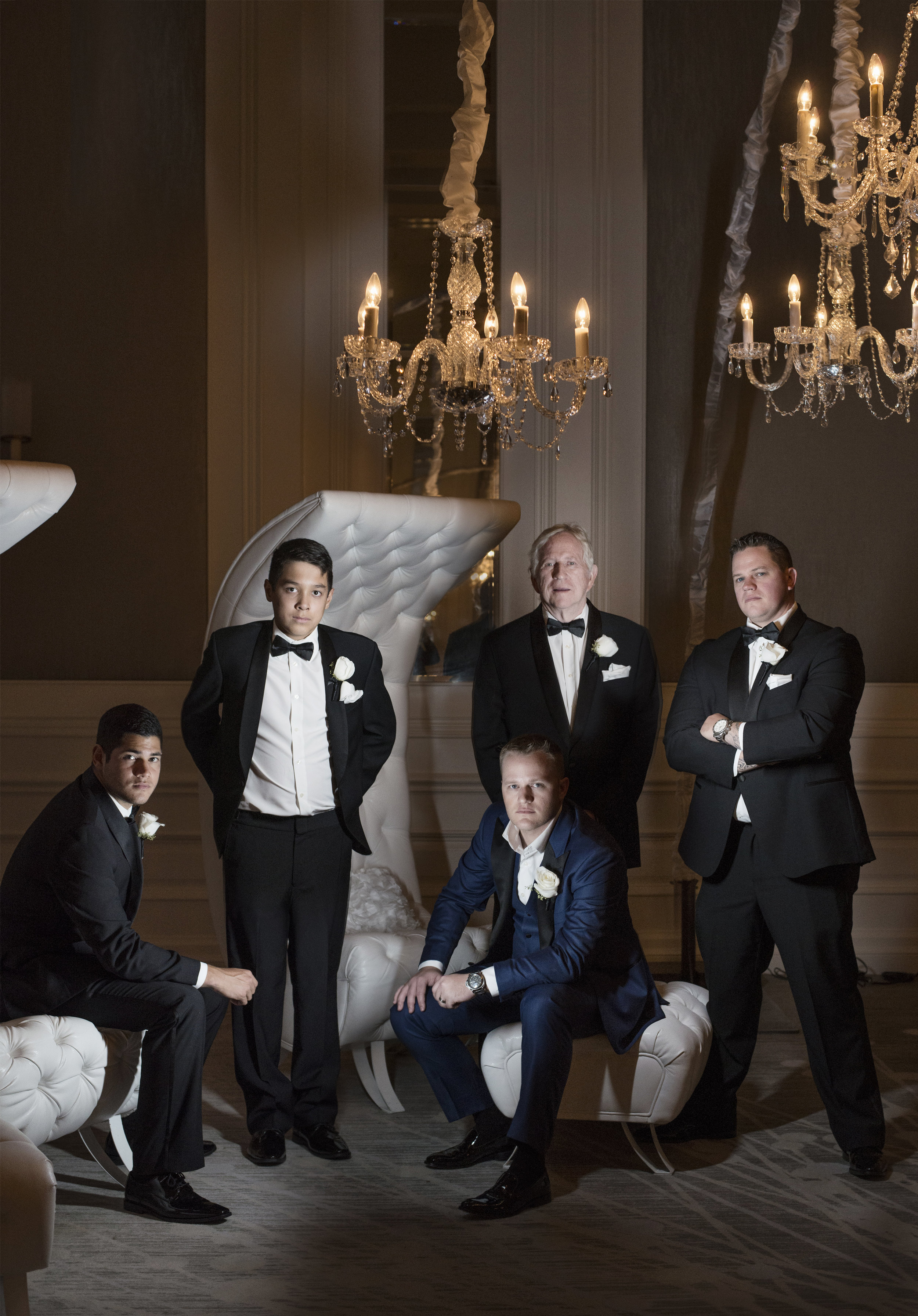 Groom and his groomsmen. Four Seasons Wedding by Las Vegas Wedding Planner Andrea Eppolito. Image by AltF Photography. Decor by DBD Vegas.