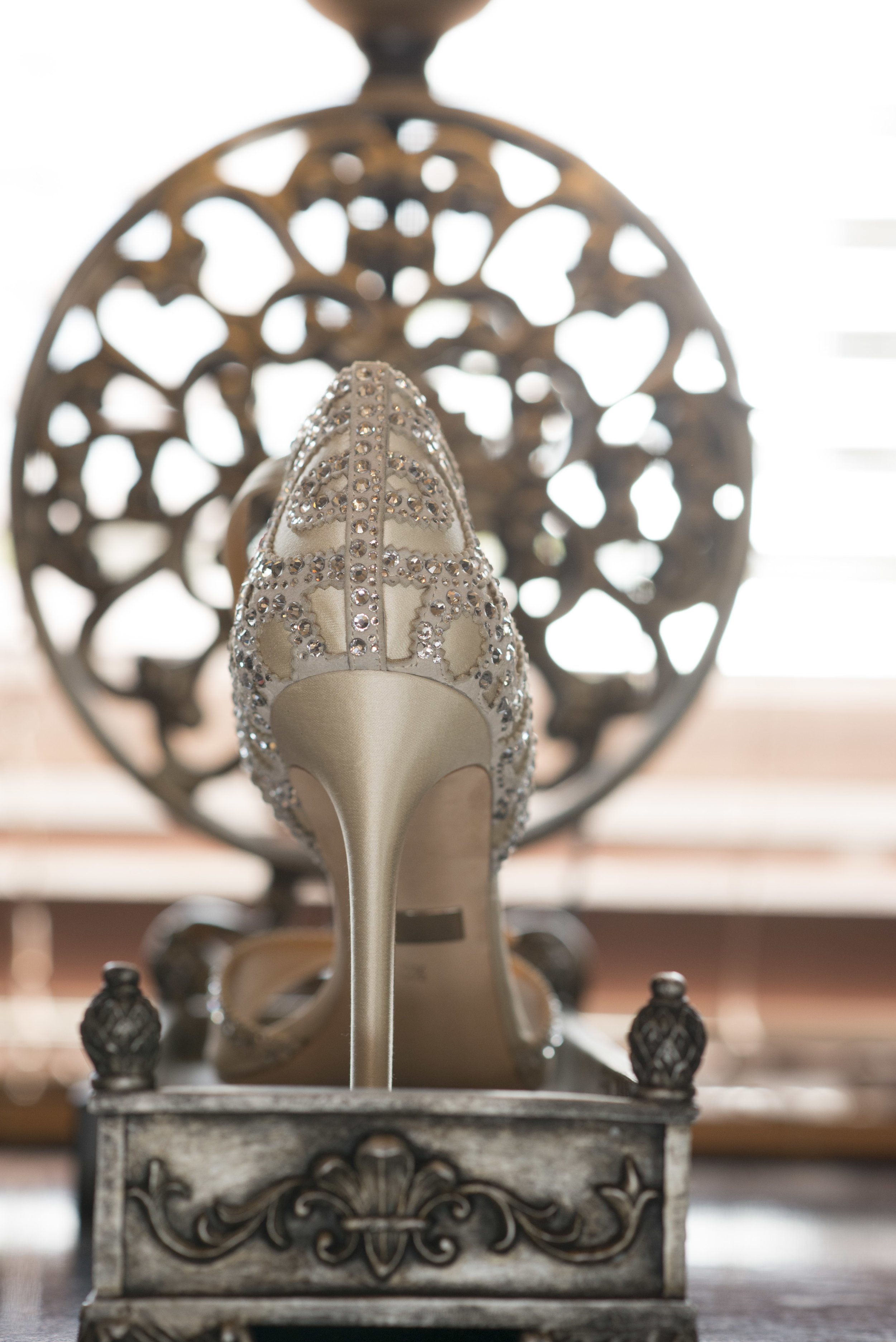 Luxe wedding shoe with crystals. Luxury Las Vegas Wedding Planner Andrea Eppolito. Image by AltF Photography.