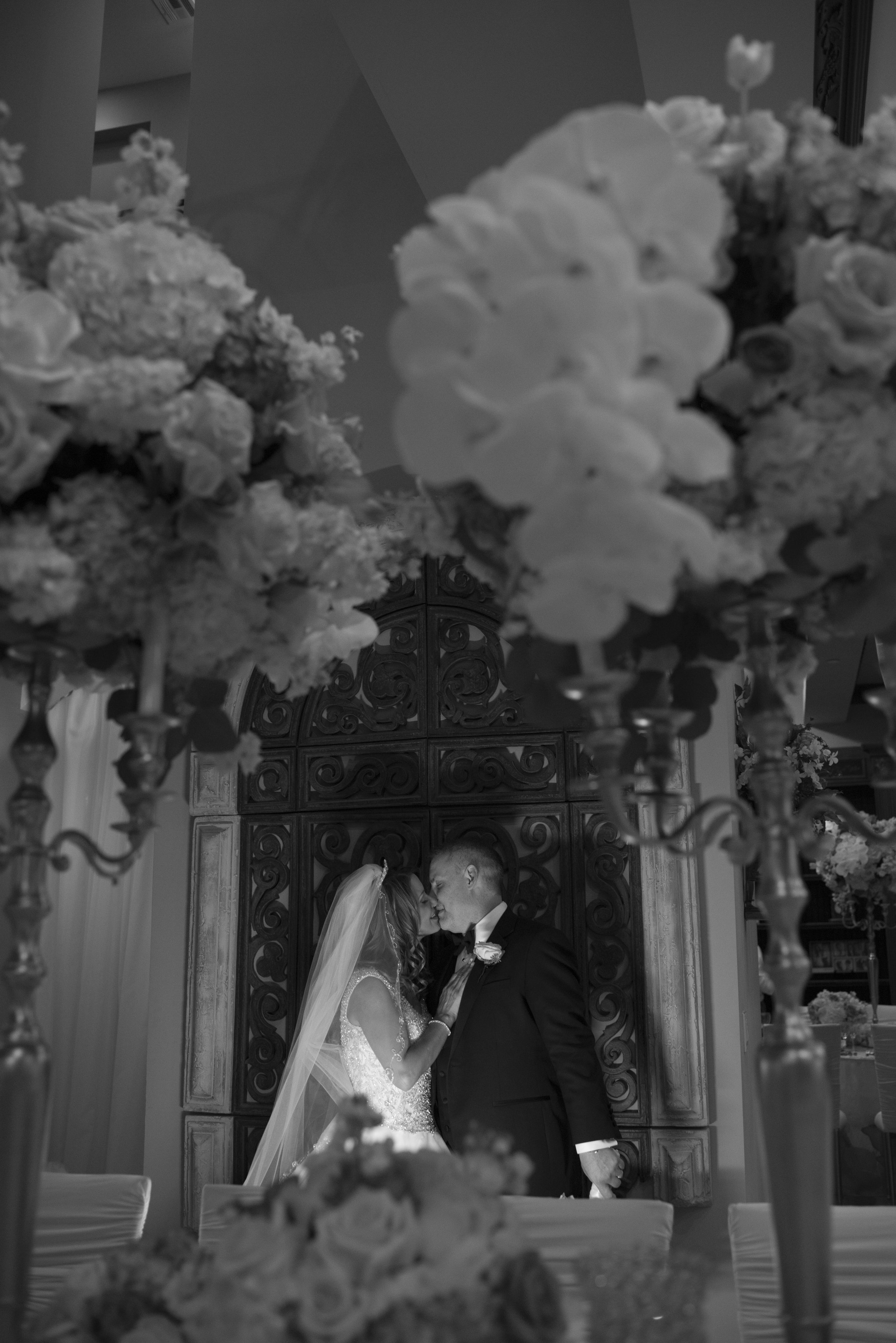 Black and white portrait in castle wedding. Luxury Las Vegas Wedding Planner Andrea Eppolito. Image by AltF Photography.