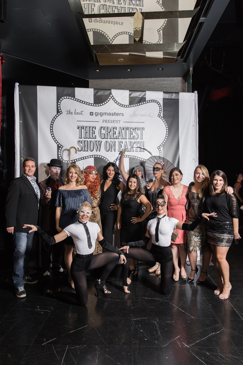 The gang's all here! Las Vegas Wedding Planner Andrea Eppolito with the circus troupe, Lucia from By Dzign, and The Events Team from The Knot.