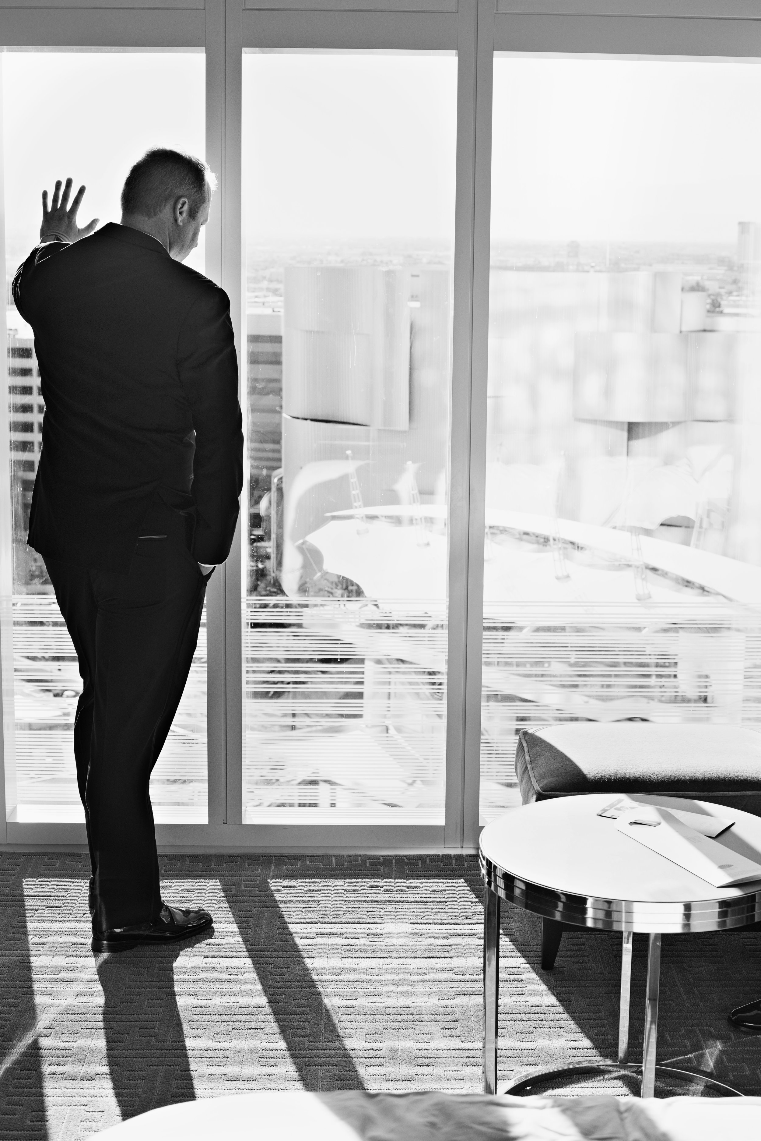 Groom looking out the window. Image by AltF.