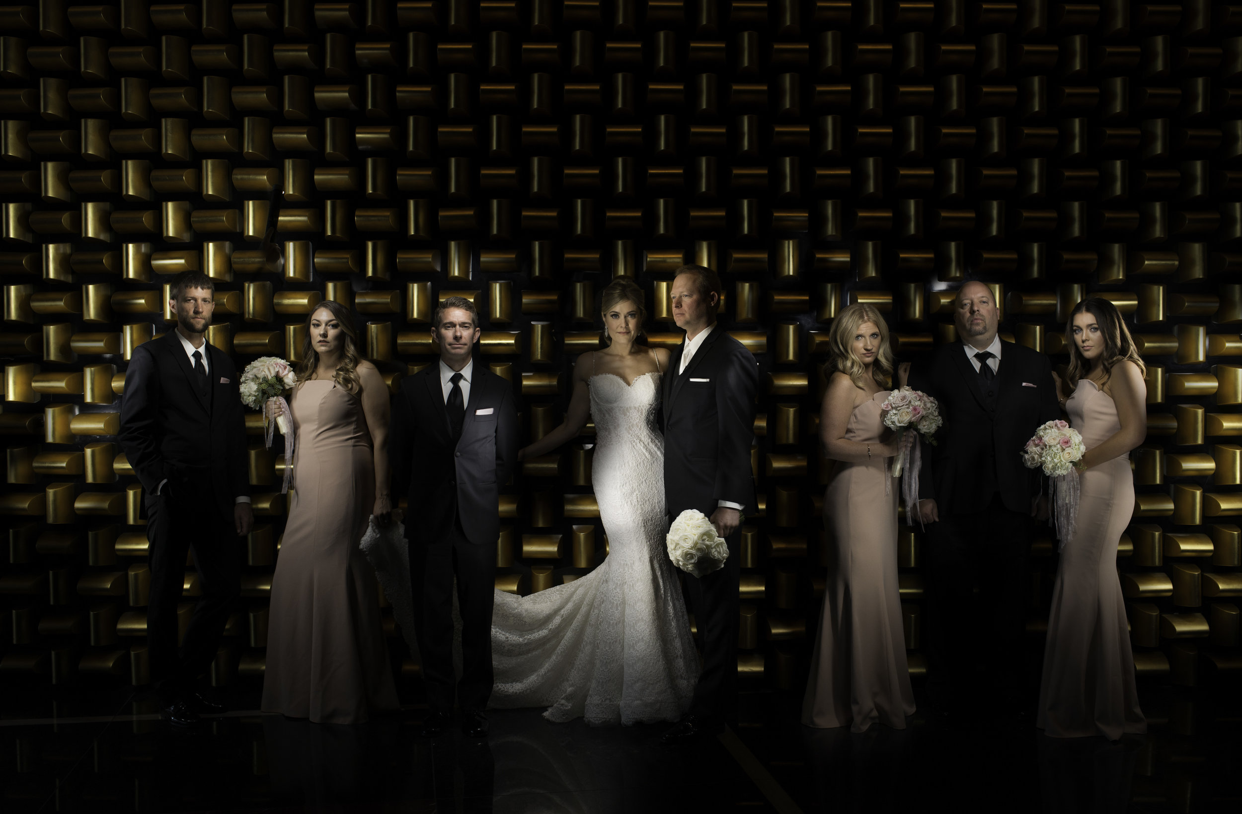 Dramatic Bridal Party Portrait in front of the God Wall at Mandarin Oriental. Las Vegas  Wedding Planner Andrea Eppolito  .   Image by AltF.