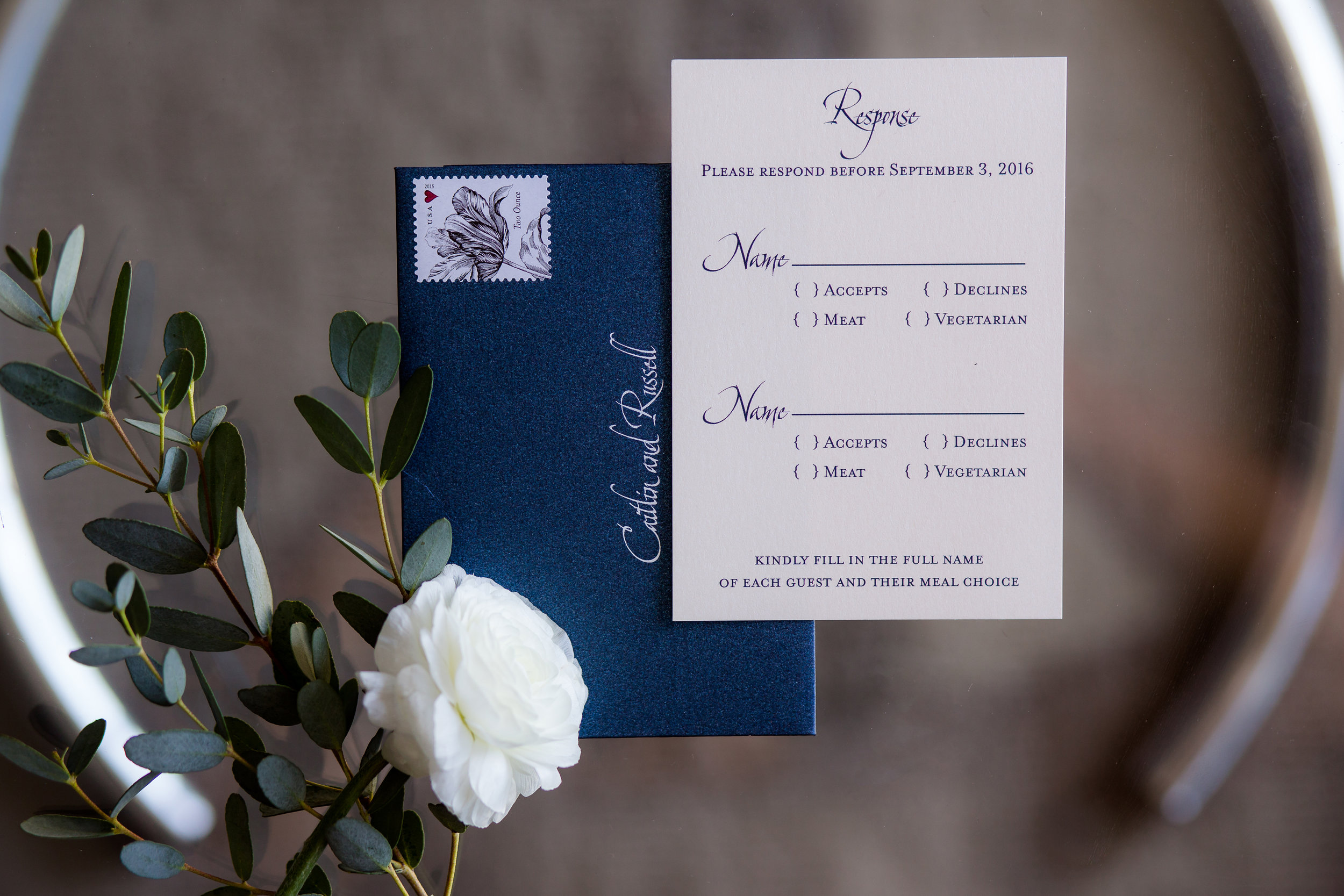 RSVP Cards with room for both the guest's name and their meal selection.  Styled Wedding Shoot inspired by French Blue by   Las Vegas Wedding Planner Andrea Eppolito.  Photography by   Rebecca Marie  .  Floral and Decor by   By Dzign  .  Beauty by   Amelia C & Co  .  Shot at Rivea at The Delano.
