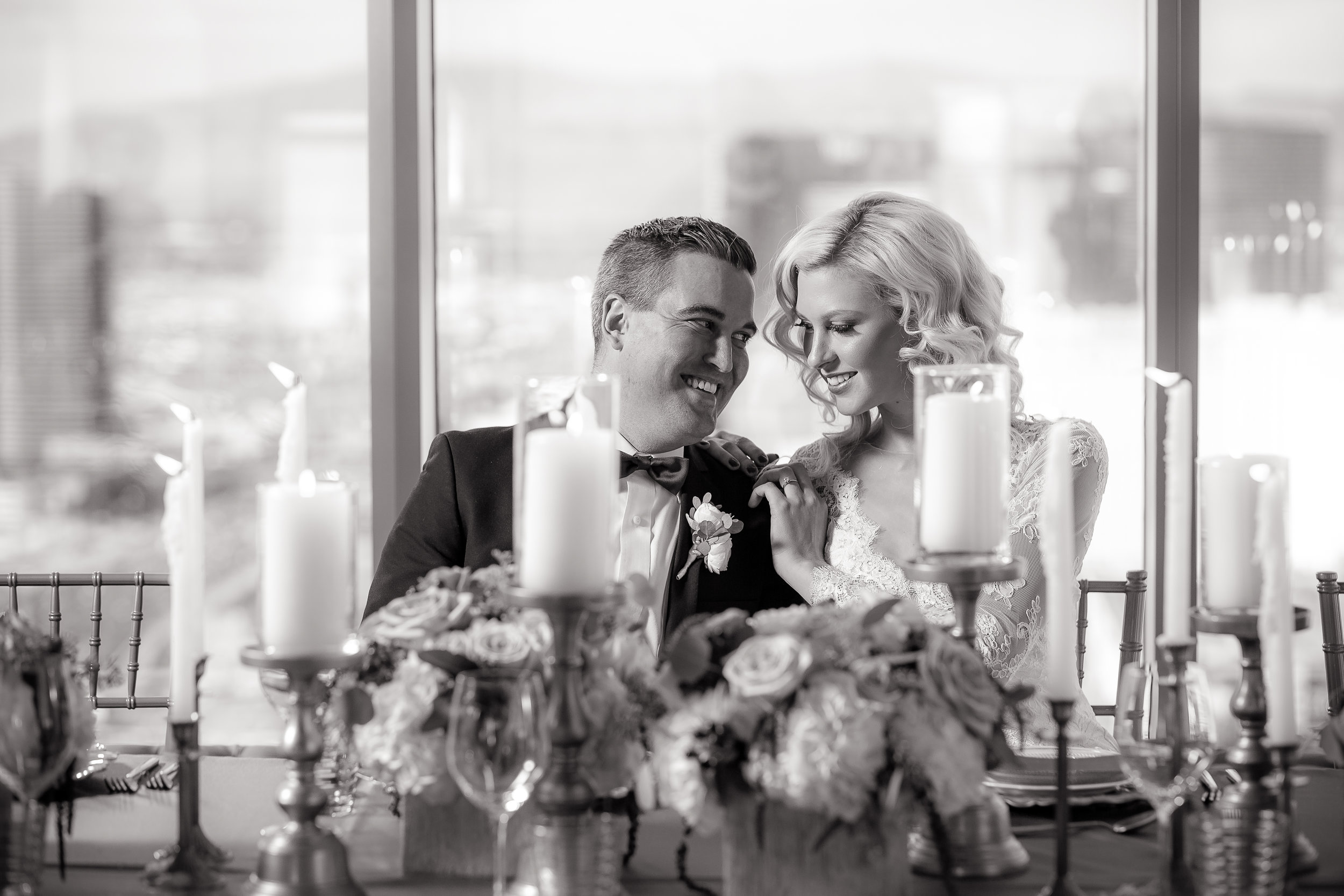 Black and white couple's portrait.   Styled Wedding Shoot inspired by French Blue by Las Vegas Wedding Planner Andrea Eppolito.  Photography by   Rebecca Marie  .  Floral and Decor by   By Dzign  .  Beauty by   Amelia C & Co  .  Shot at Rivea at T  he Delano.