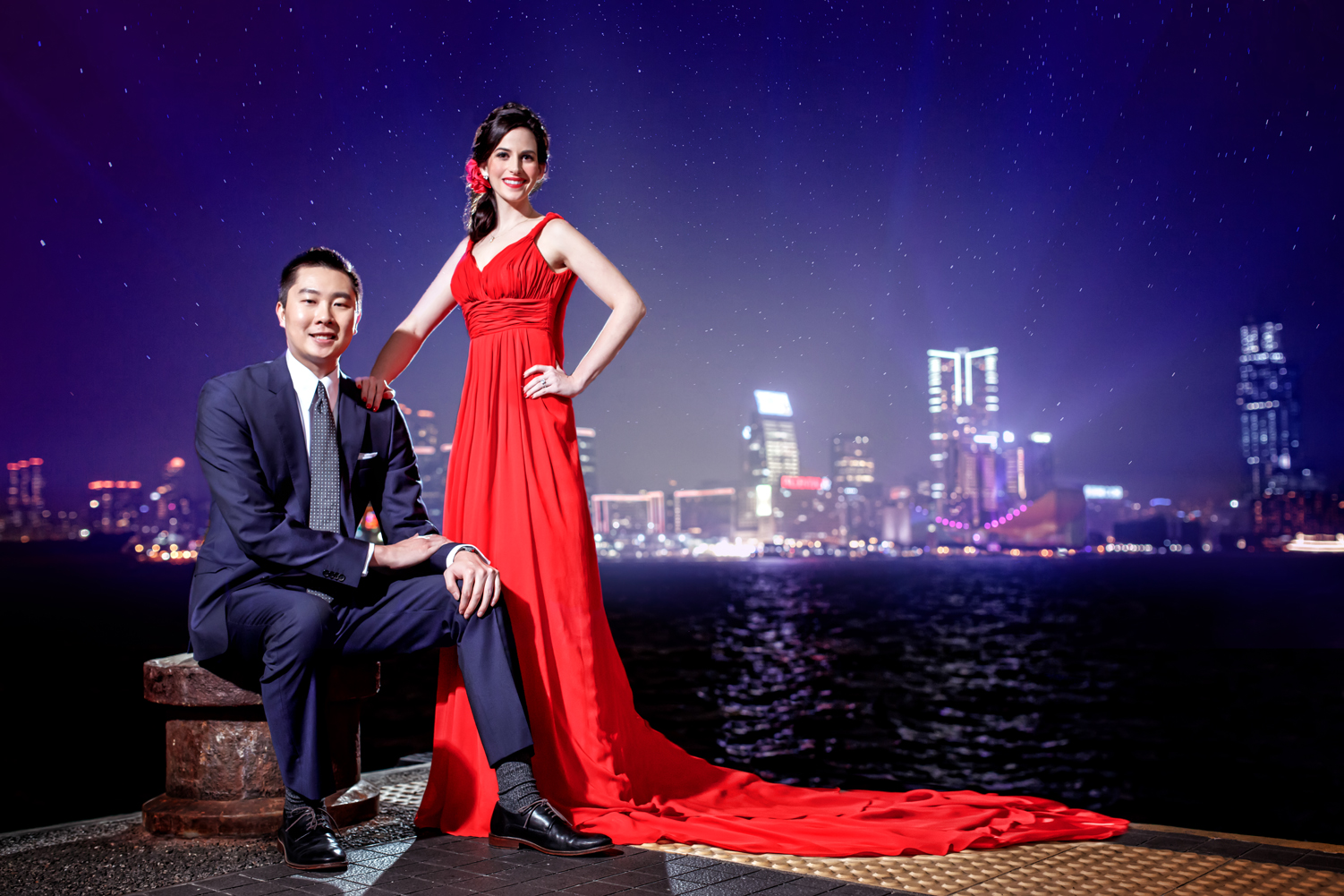 Las Vegas Wedding Planner Andrea Eppolito shares these Hong Kong Engagement Photos taken by  Aperture Photo . Sexy red gown.