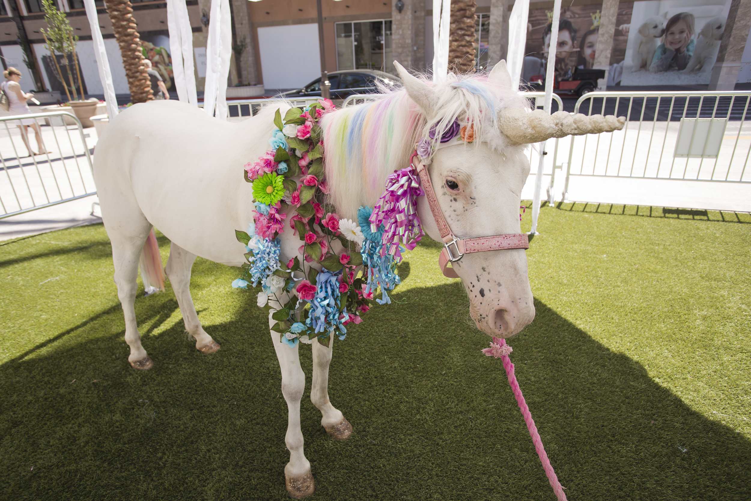 Unicorn at the first bithday party of Azari. Celebrity Event Planner Andrea Eppolito.  Floral and Rentals by Destinations by Design. Photo by Triple Vision Studios.