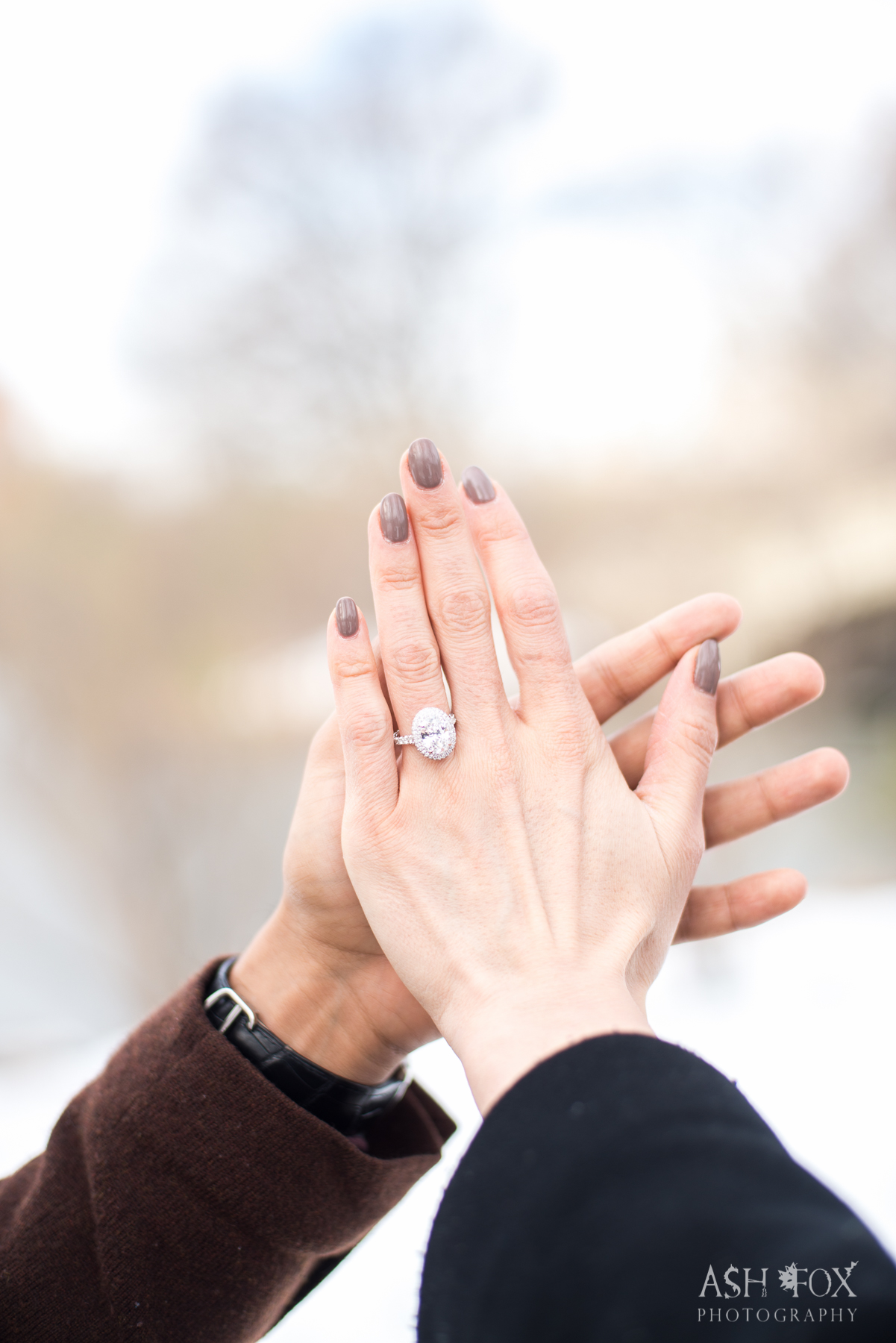 Big diamond oval engagement ring.NYC Central Park Engagement. Destination Wedding Planner Andrea Eppolito Photography by Ash Fox Photography.
