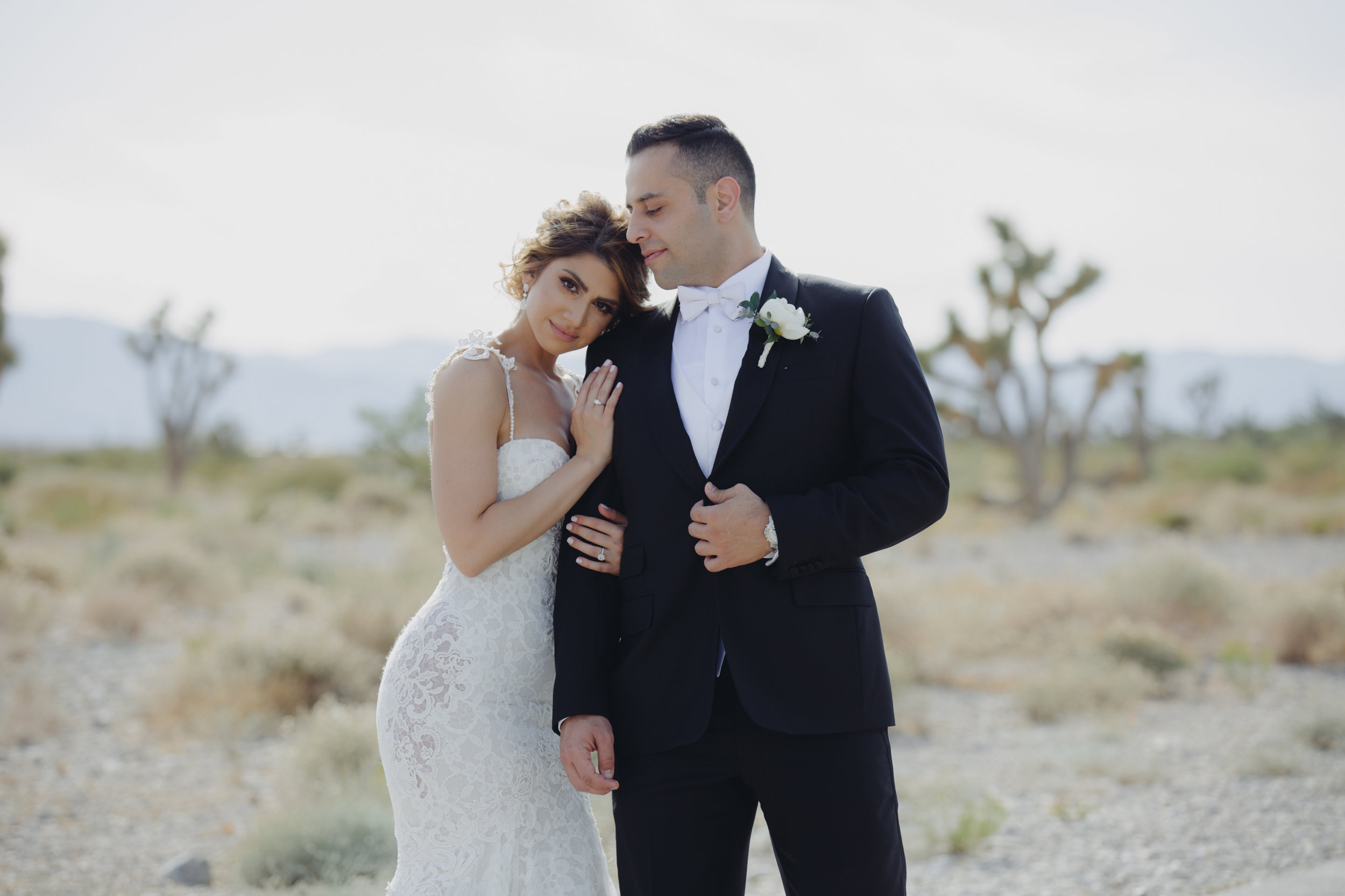 Wedding Portrait in desert.  Luxury Destination Wedding Planning and Event Design by  Andrea Eppolito Events  · Photos by  Stephen Salazar  · Flowers by  Naakiti Floral  ·  Rentals by RSVP · Lighting by  LED Unplugged   · Venue  Paiute Golf Course .  Dress by  Berta  · Shoes by  Jimmy Choo
