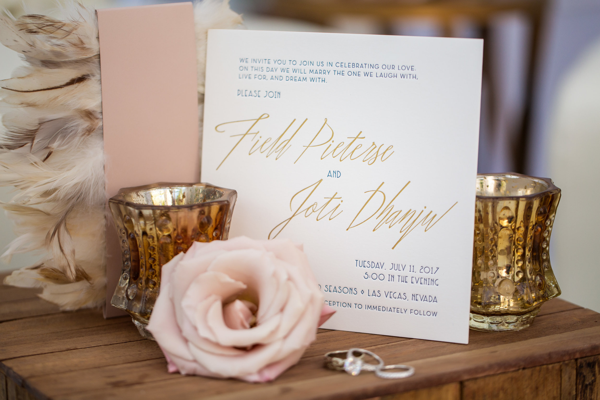 White and gold invitations by Ceci New York. Wedding Planning by  Andrea Eppolito Events  · Photography by  Shandro Photo   · Wedding Venue  Four Seasons Las Vegas  · Floral and Decor by  Destination by Design  · Chandeliers and Lighting by  LED Unplugged