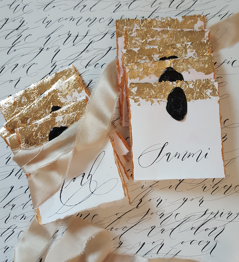 Gold leaf wedding place cards with hand painted names. Created by Crimson Letters. Las Vegas Wedding Planner www.AndreaEppolitoEvents.com