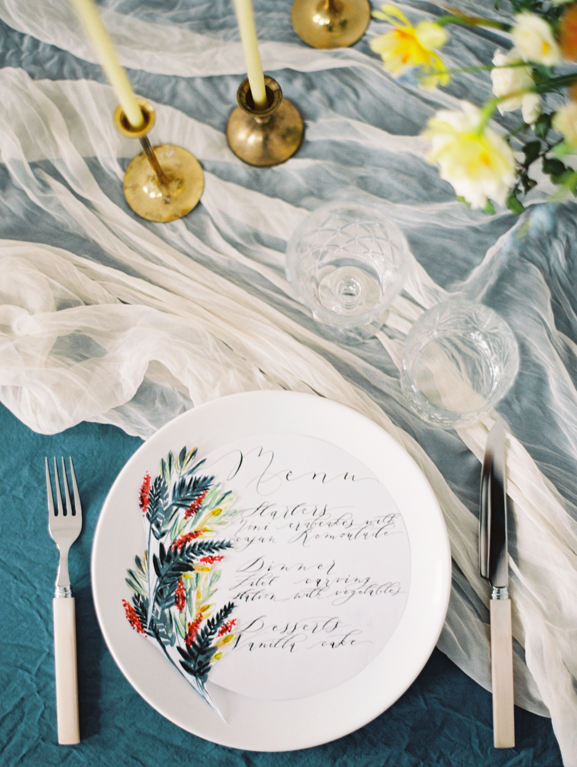 Hand Painted Circle Menus.Colorful hand painted wedding stationery.Wedding Stationery by Crimson Letters. Wedding Planner www.andreaeppolitoevents.com.