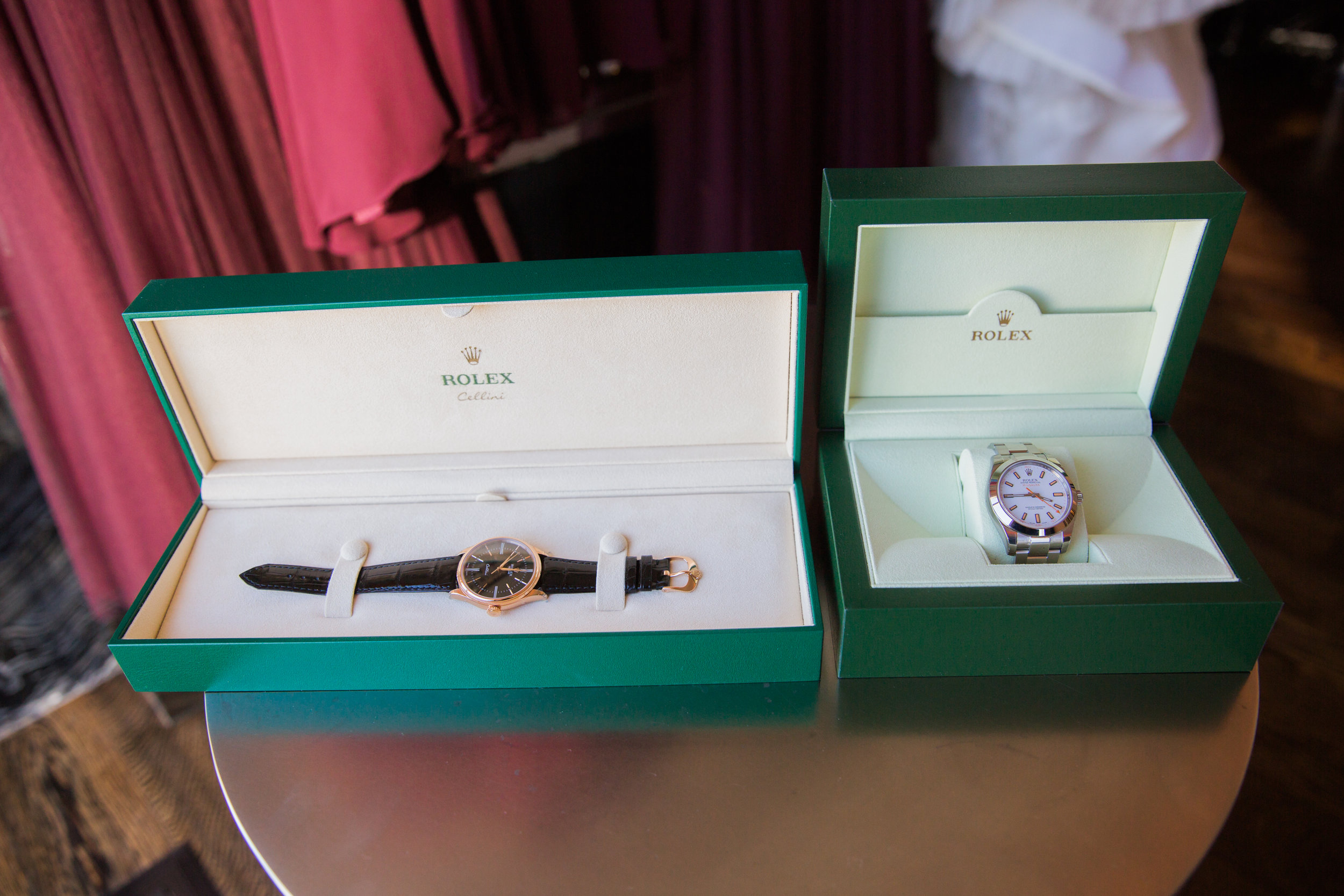 Rolex Watches as Wedding Gift.Luxury wedding at the Mandarin Oriental with a color scheme of white, blush, and pops of wine red produced by Las Vegas Wedding Planner Andrea Eppolito with photos by Stephen Salazar Photography.