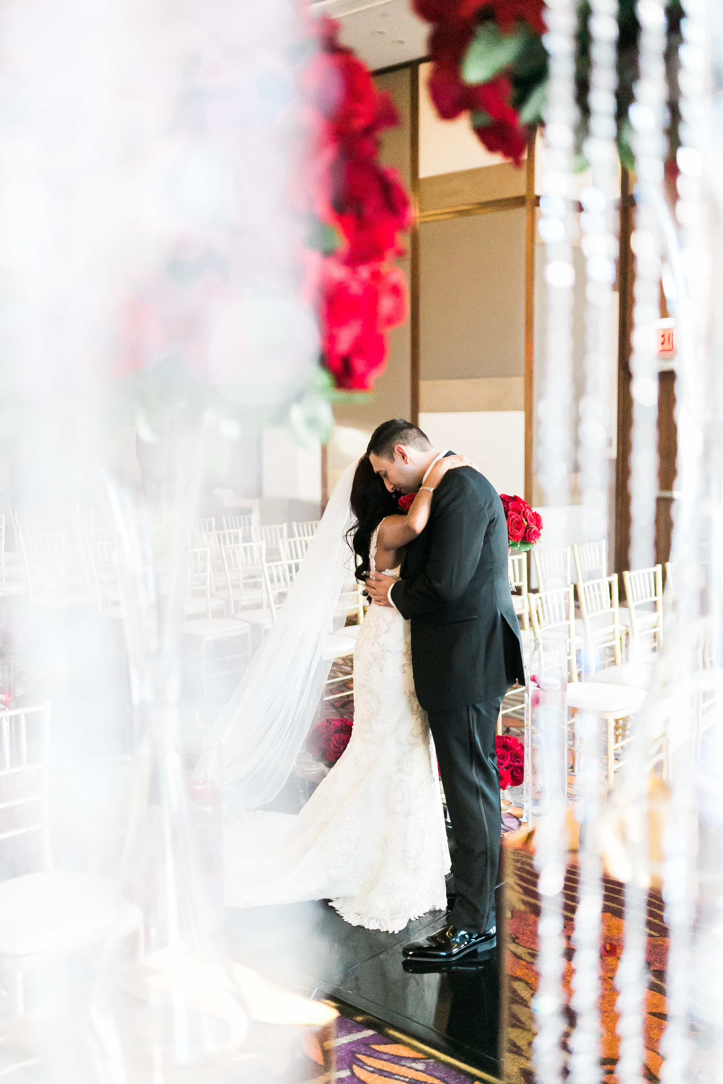 First look at the wedding ceremony.  Las Vegas Wedding Planner Andrea Eppolito shares this multicultural wedding.  Photo by J.Anne Photography. Wedding at Mandarin Oriental Las Vegas,