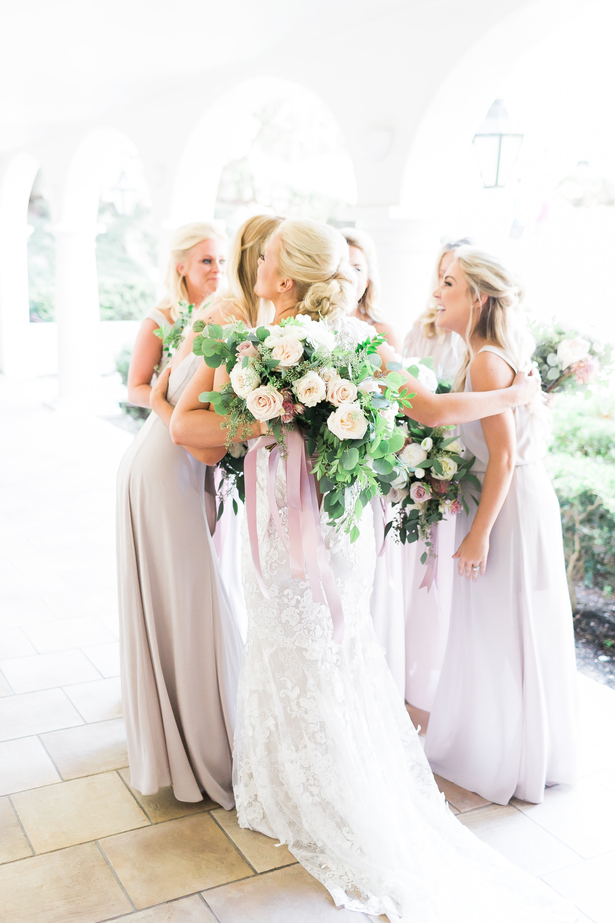 Bridesmaid first look.   CREDITS:  Destination Wedding Planner  ANDREA EPPOLITO EVENTS  · Images by  J.ANNE P  HOTOGRAPHY  · Video  HOO FILMS  · Venue Ritz Carlton Bacara Santa Barbara ·Gown  MONIQUE LHULLIER ·Bridesmaids Dresses  SHOW ME YOUR MUMU ·Stationery  SHE PAPERIE ·Bride's Shoes  BADGLEY MISCHKA ·Hair and Makeup  TEAM HAIR AND MAKEUP · Floral  BLUE MAGNOLIA ·Linen  LA TAVOLA ·Decor Rentals  TENT MERCHANT ·Calligraphy  EBB ·Lighting  FIVE STAR AV ·Ice Cream Station  MCCONNELL'S ICE CREAM