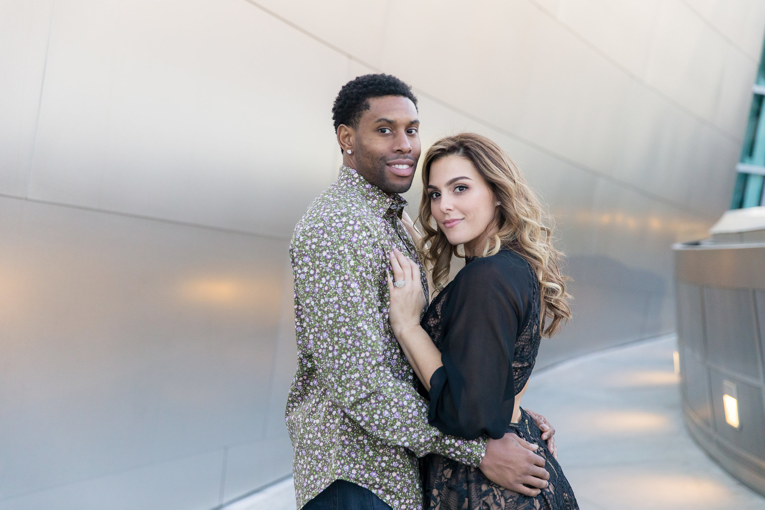 Danielle Ghaffari and CJ Watson. Engagement Photos in downtown LA. Luxury Wedding Planner Andrea Eppolito, with images by Brian Leahy.