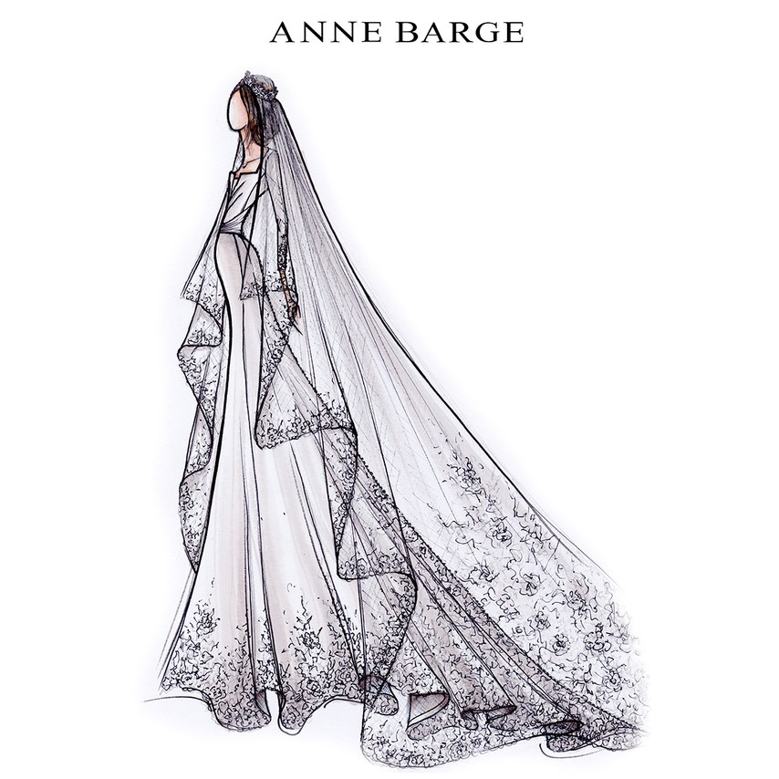 Anne Barge for Meghan Markle. As seen on Brides.com.