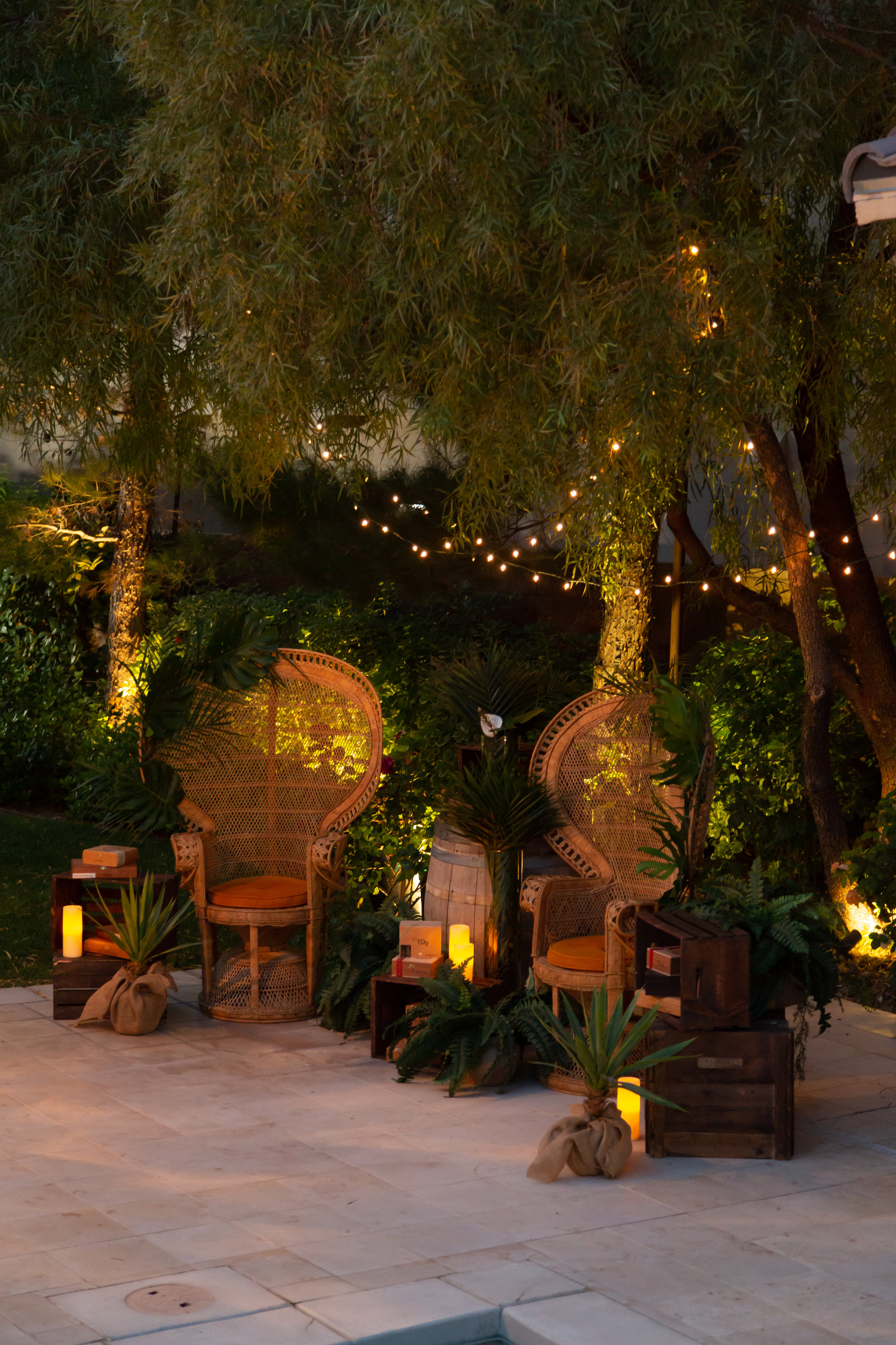 Outdoor cigar smoking lounge. Las Vegas Event Designer Andrea Eppolito designed a Havana Nights Birthday Party for pop star Wajdi Kasas. Decor from By Dzign with lighting from LED Unplugged. Adam Frazier took the photos, and catering came from Cut & Taste.