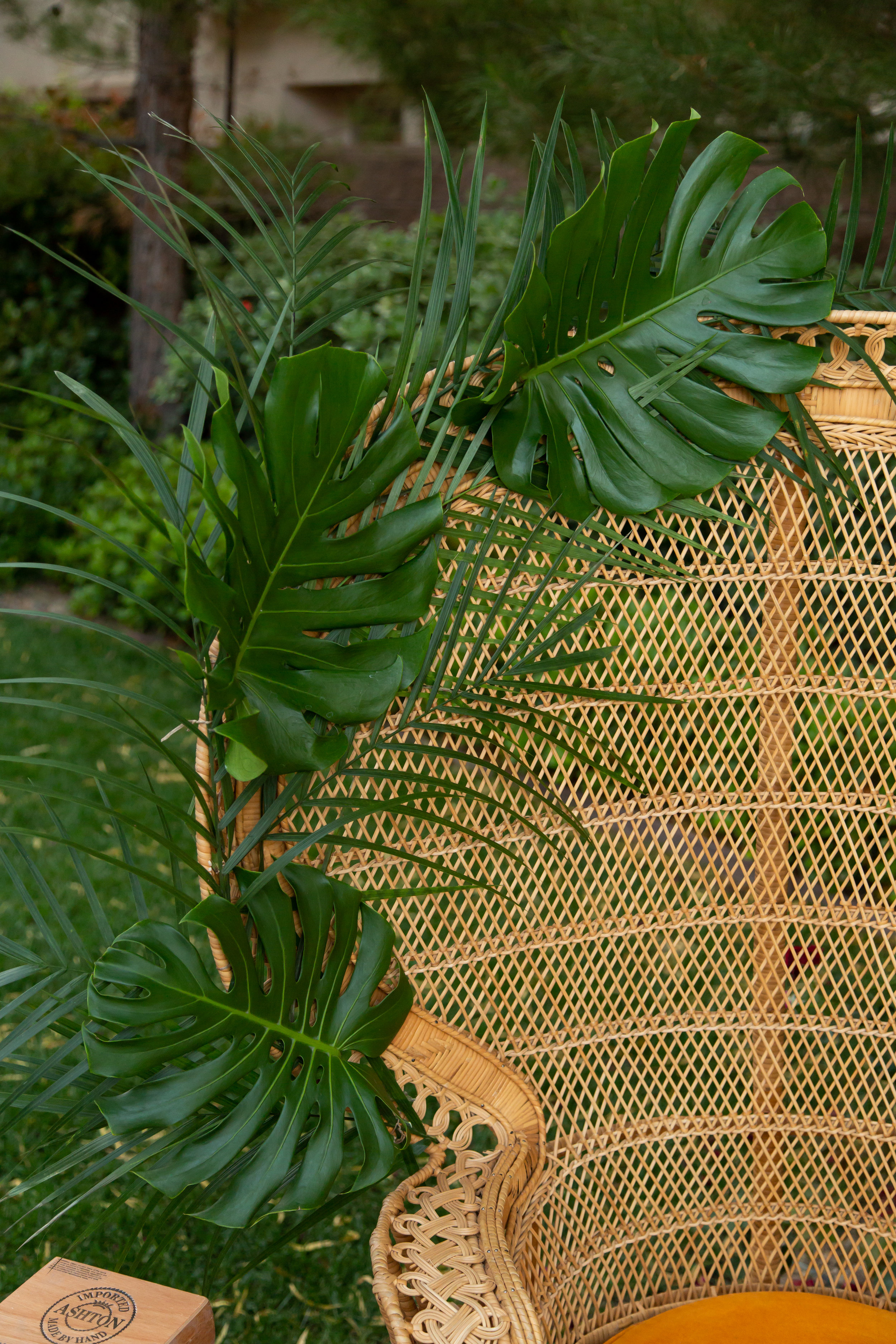 Palm leaves and wicker chairs. Las Vegas Event Designer Andrea Eppolito designed a Havana Nights Birthday Party for pop star Wajdi Kasas. Decor from By Dzign with lighting from LED Unplugged. Adam Frazier took the photos, and catering came from Cut & Taste.