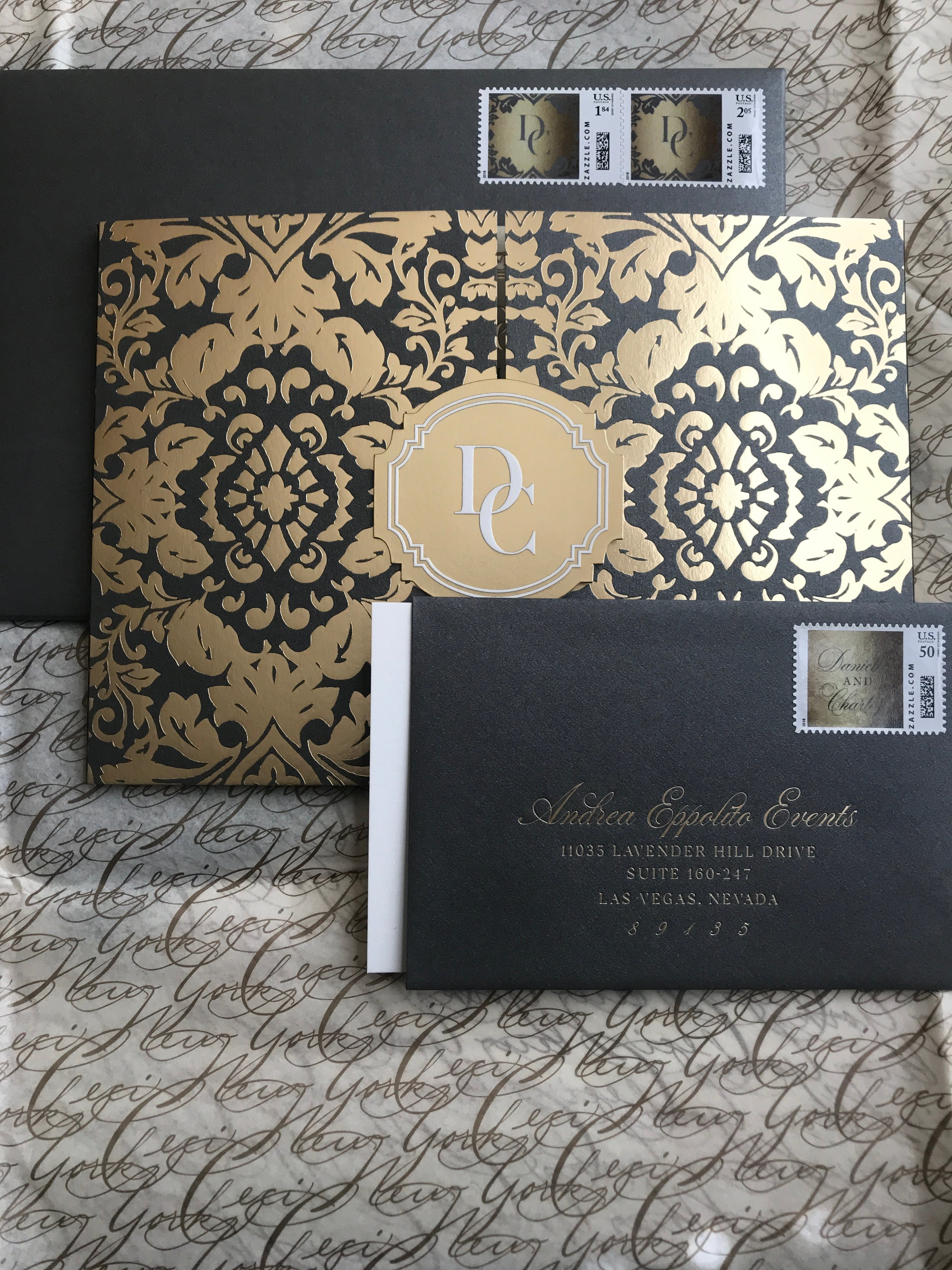 Grey & Gold Invitation Suite by Ceci New York for Las Vegas Wedding Planner Andrea Eppolito.