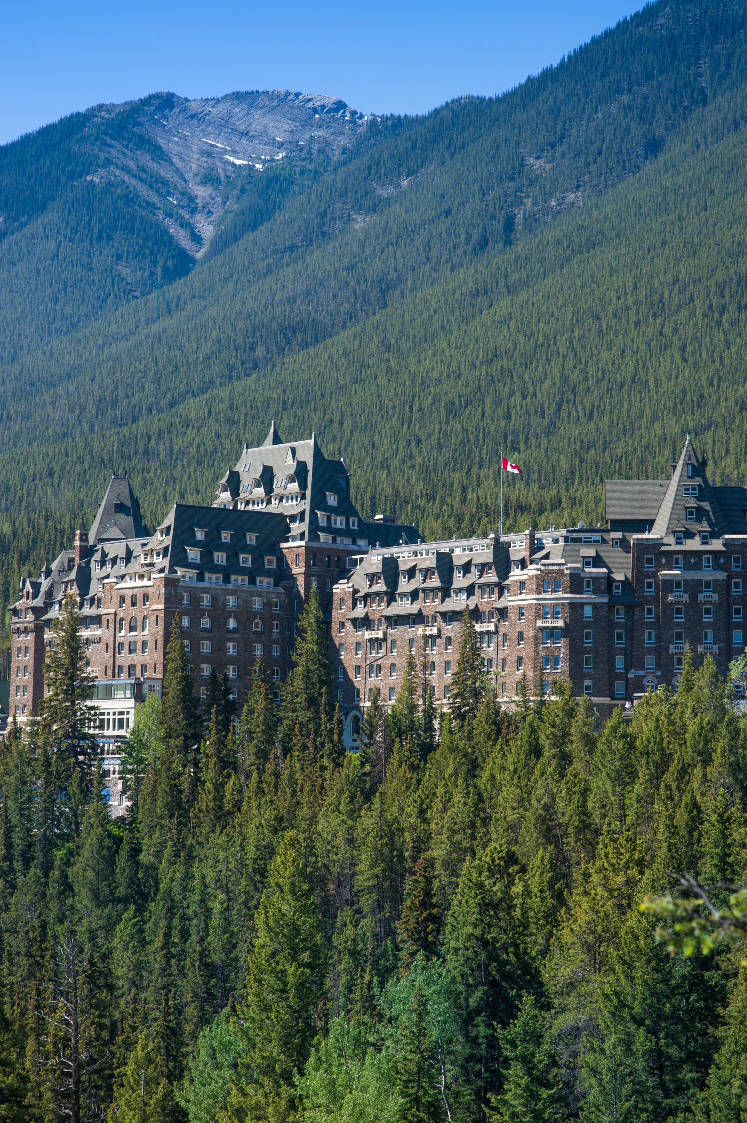 The Fairmont Banff as seen from above.  Photo by Cameron Kelly Studios.