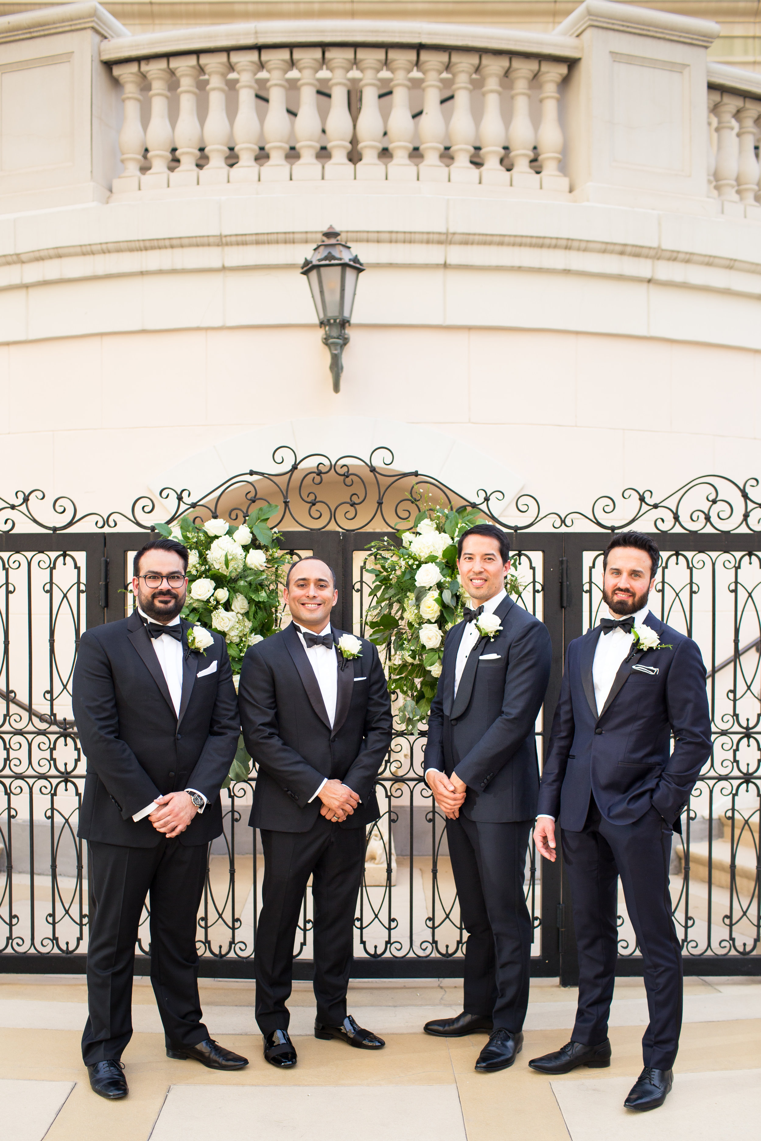 Groomsmen in tuxedos at Italian Style wedding.Wedding Planner:  Andrea Eppolito Events   | Photography  D2 Tuscan Wedding Photography  | Videography  M Place Productions  | Venue & Catering:  Bellagio  | Floral & Decor:  Destinations by Design  | Lighting:  LED Unplugged   | Music: Classical Entertainment &  DJ Mike Fox  | Hair & Make Up:  Amelia C & Co