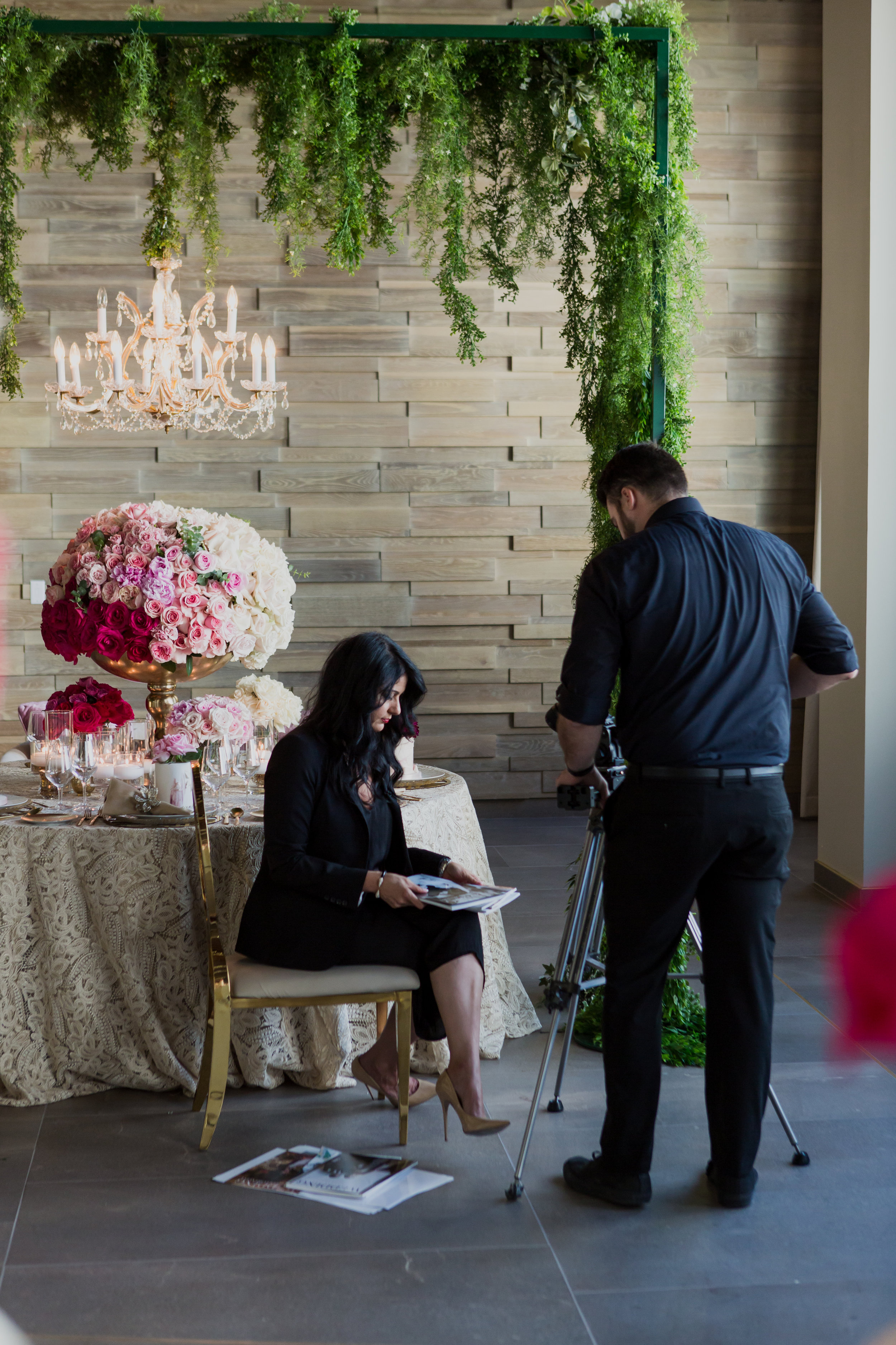 Behind the scenes filming our commercial for The Wedding Editorialist. Photo by Adam Frazier.